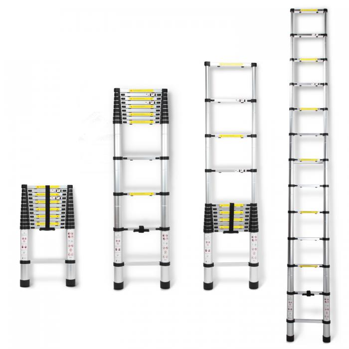 3.8m Multi Purpose Extendable Aluminium Telescopic Ladder Steps