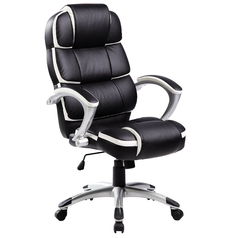 Luxury Designer Computer Office Chair - Black with White Accents
