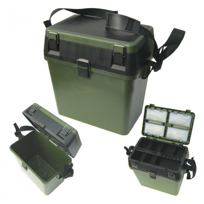 Fishing Tackle Box c/w Seat Pad & Strap