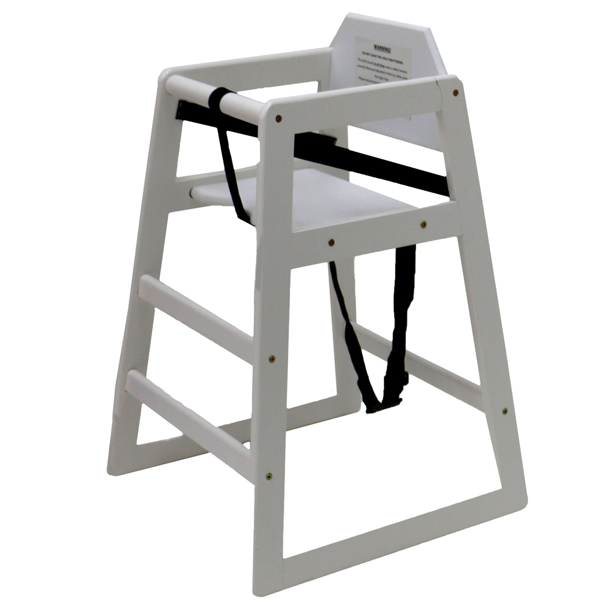 Kids Wooden High Chair - White