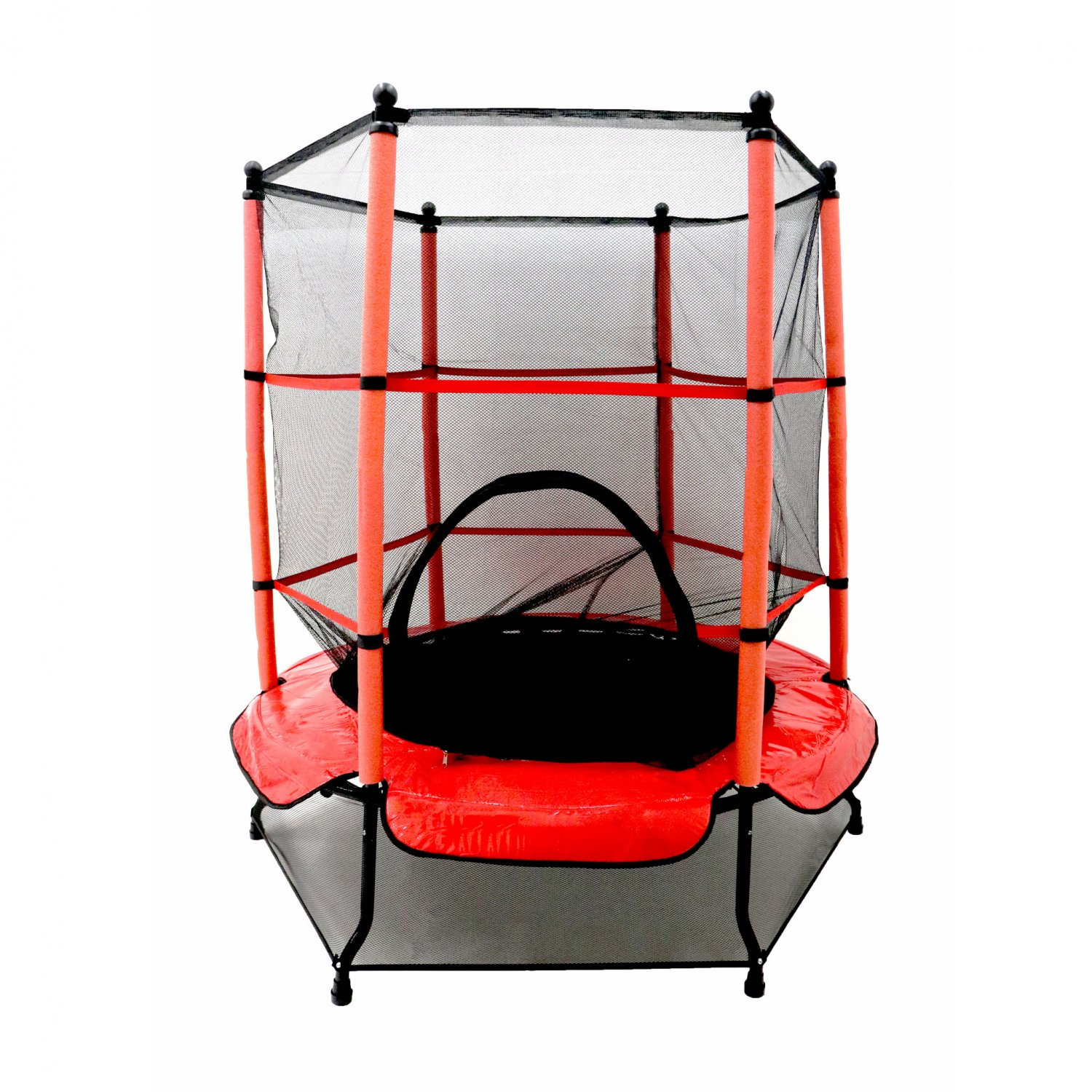 "55"" Kids Trampoline with Safety Net and Red Cover Garden Outdoo"