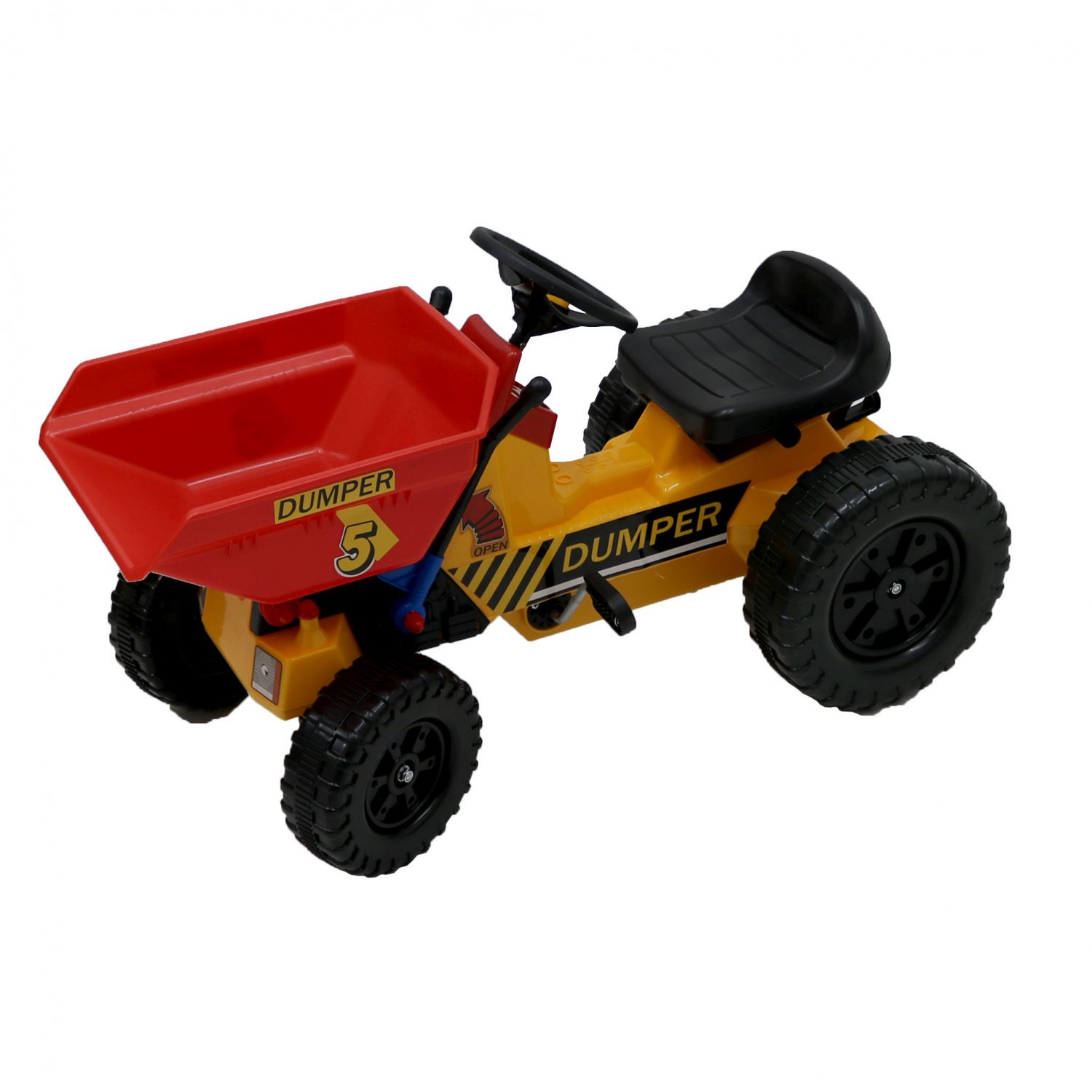 Childrens Pedal Ride on Yellow Super Bucket Dumper Truck Tractor