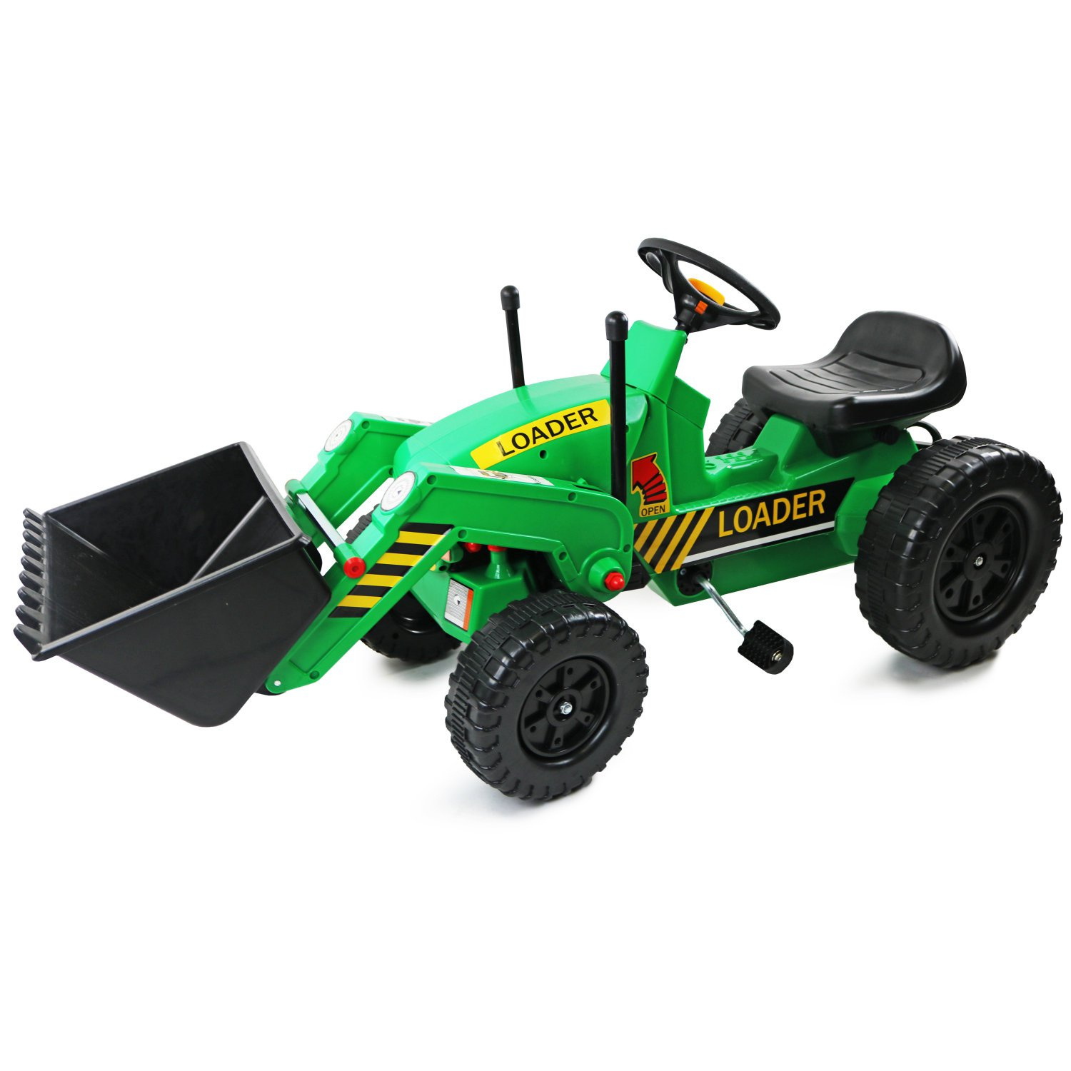Childrens Pedal Ride on Green Super Kids Bucket Loader Tractor