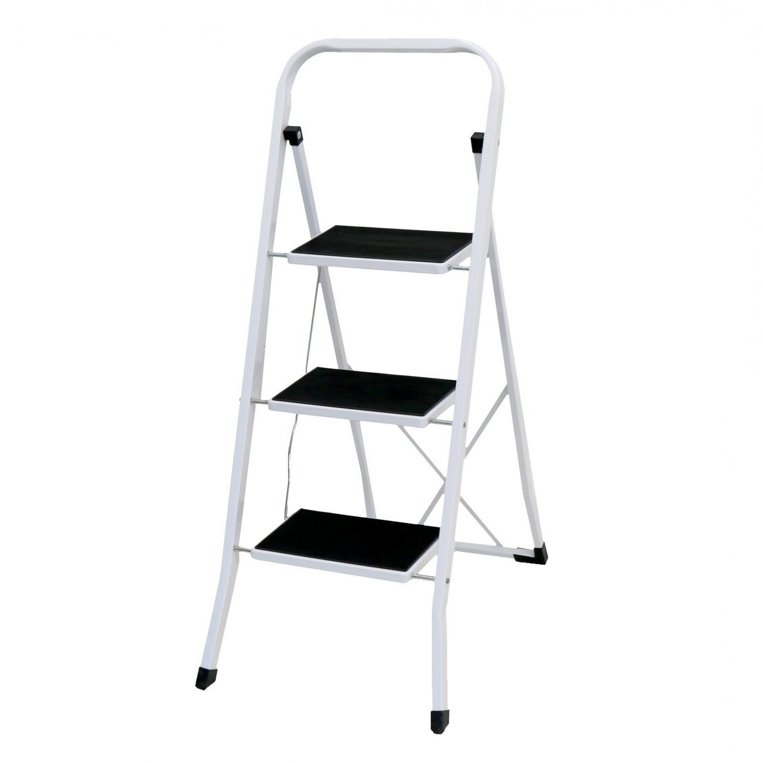 Foldable 3 Step Ladder Stepladder Non Slip Tread Safety Steel