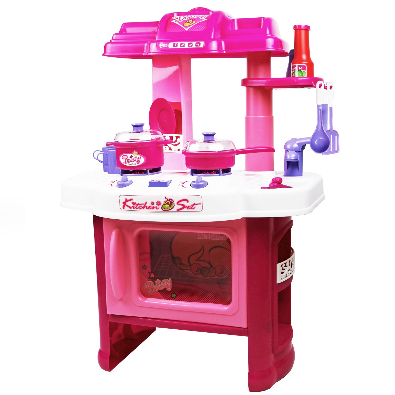 Childrens Kids Pink Play Electronic Kitchen Cooking Playset