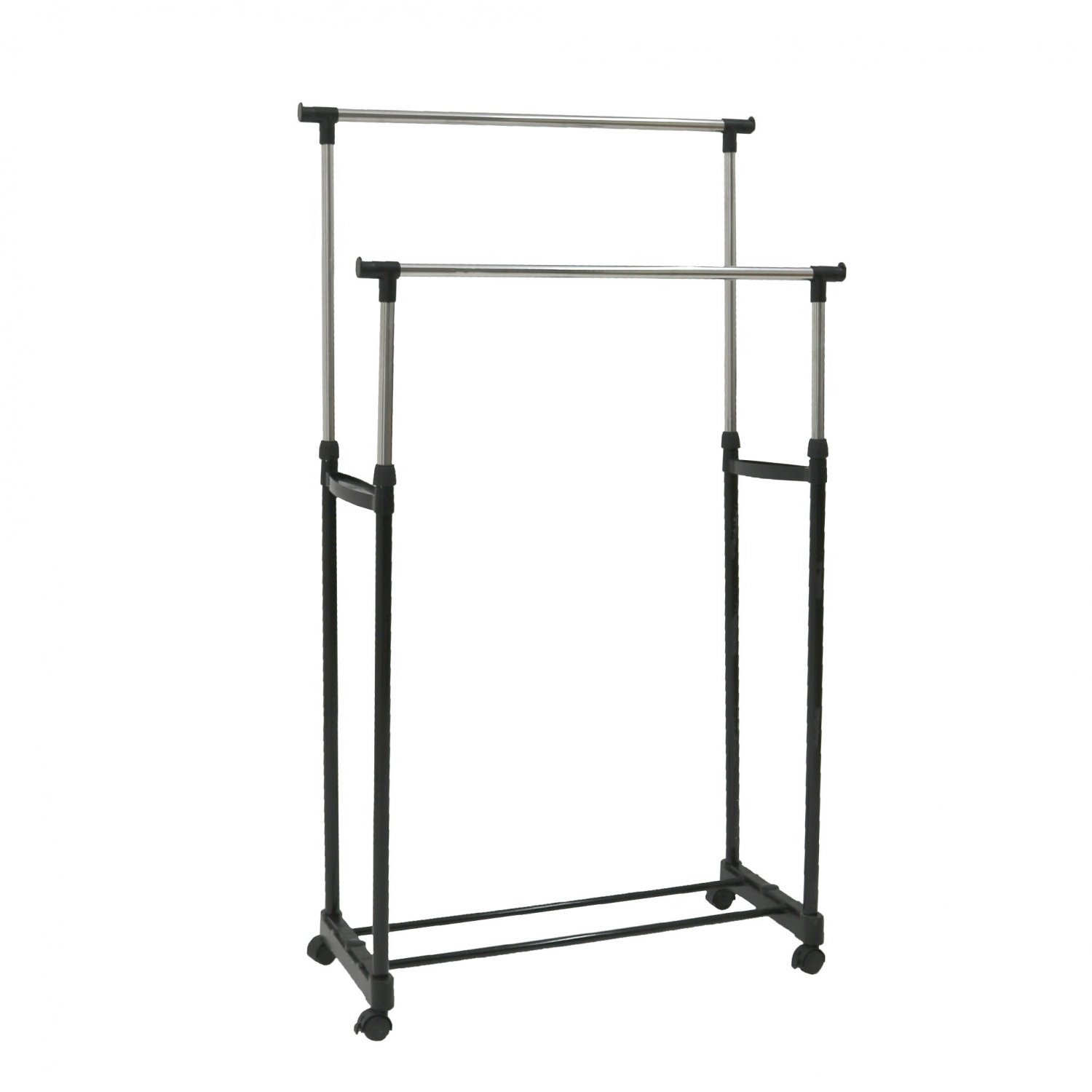 double clothes rail portable hanging garment w shoe rack shelf 3570 who needs shops. Black Bedroom Furniture Sets. Home Design Ideas