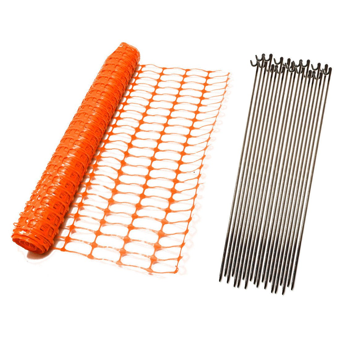 1m x 50m Orange Mesh Safety Barrier Fencing & 10 Fencing Pins