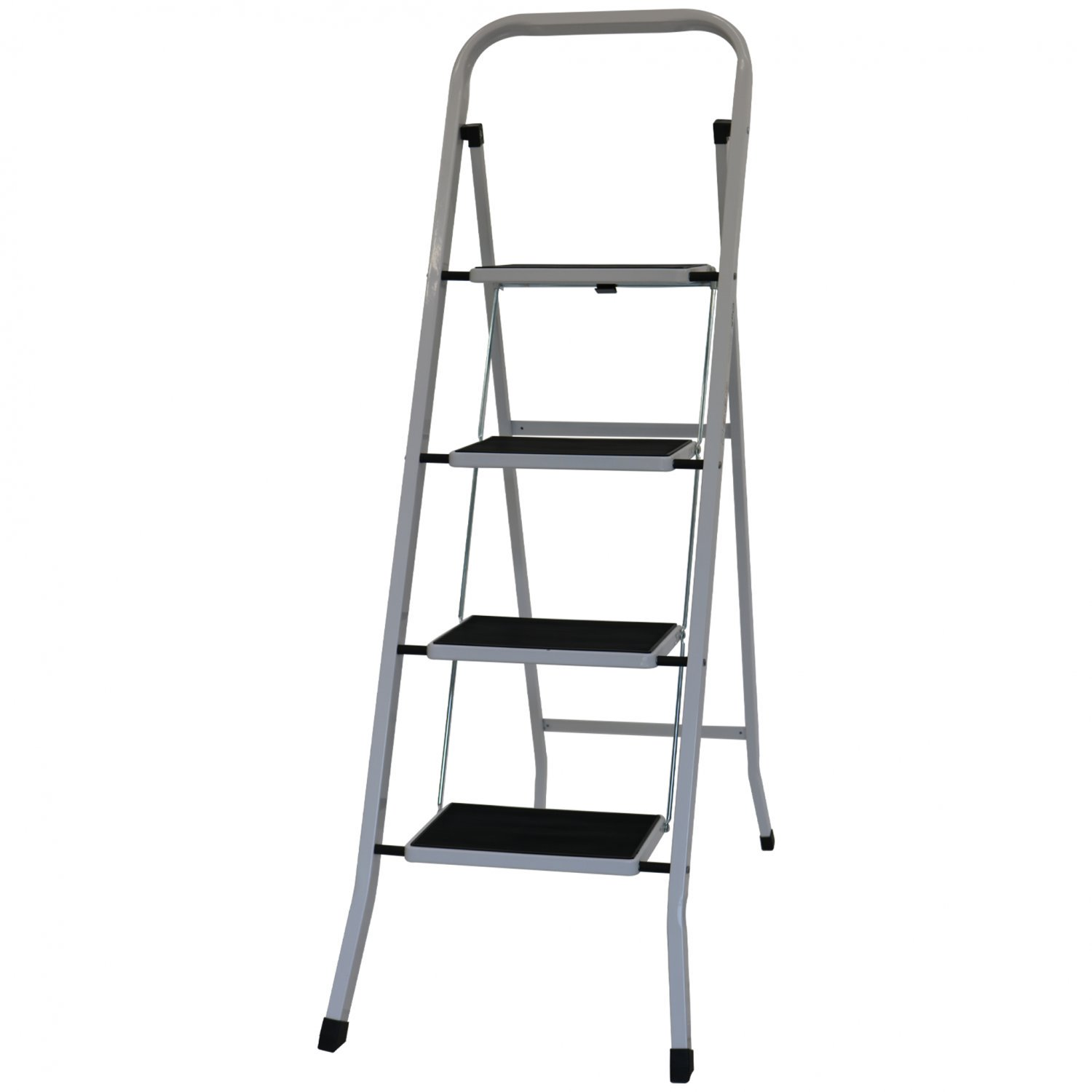 Foldable 4 Step Ladder Stepladder Non Slip Tread Safety Steel