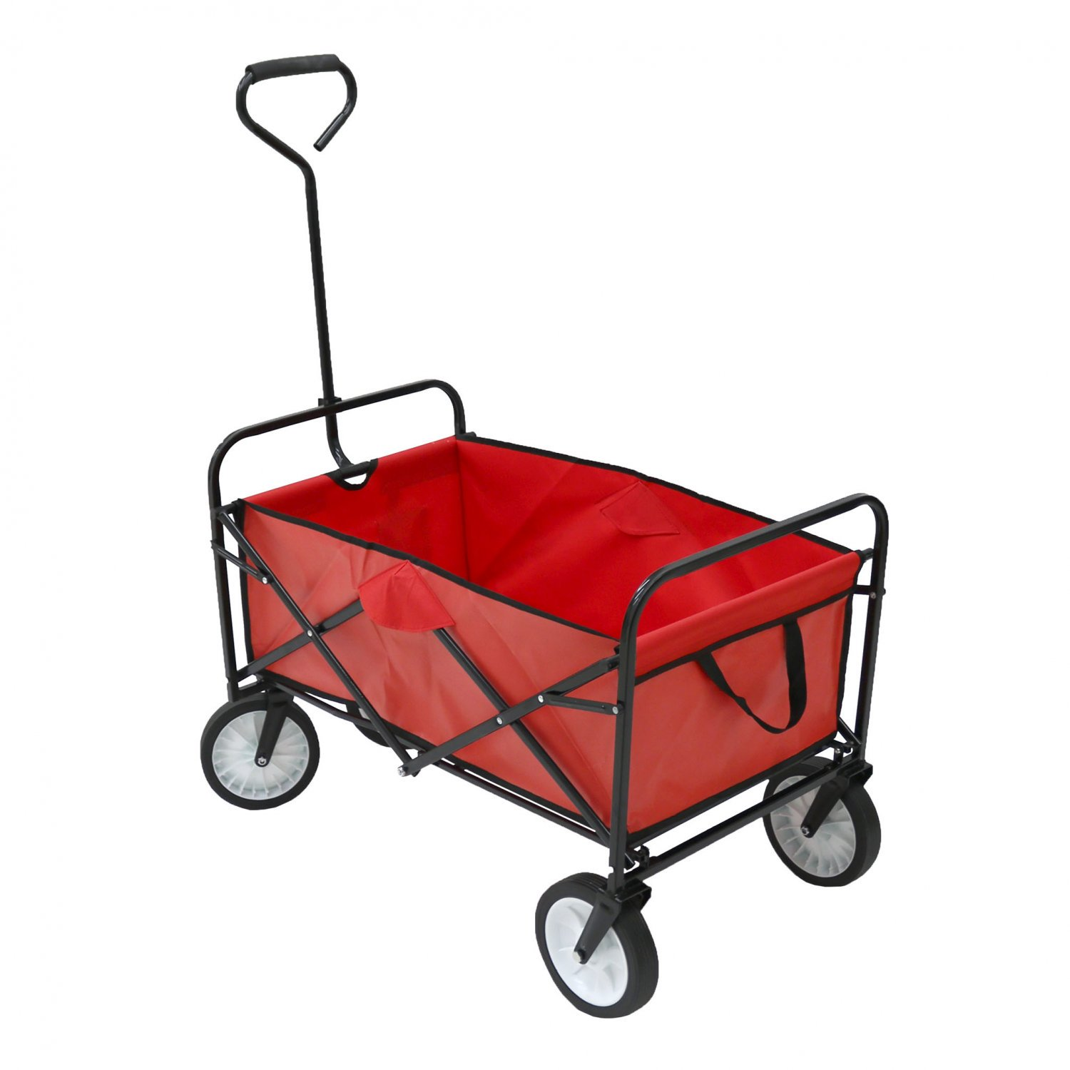 Red Heavy Duty Foldable Garden Trolley Cart Wagon Truck