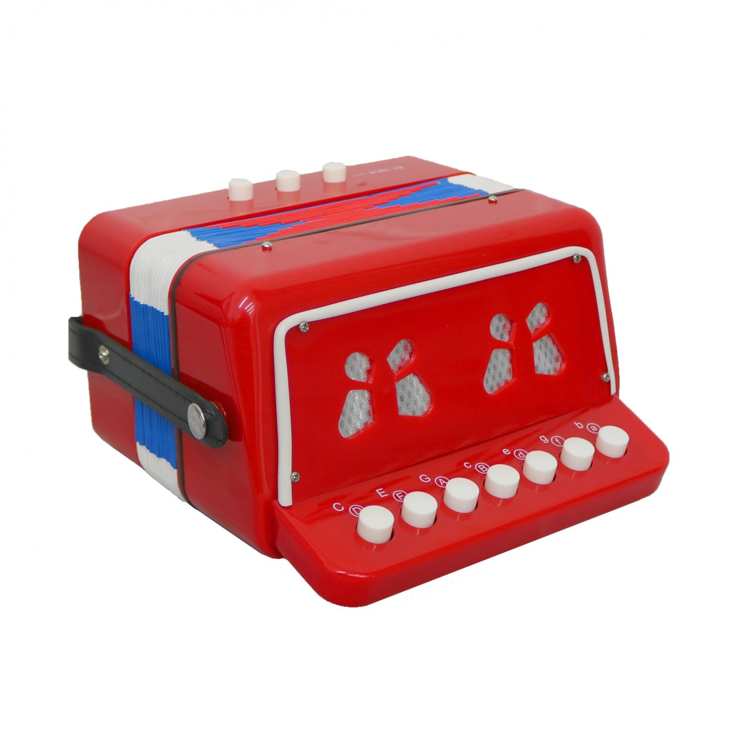 7 Keys 2 Bass Children's Red Toy Accordion Musical Instrument