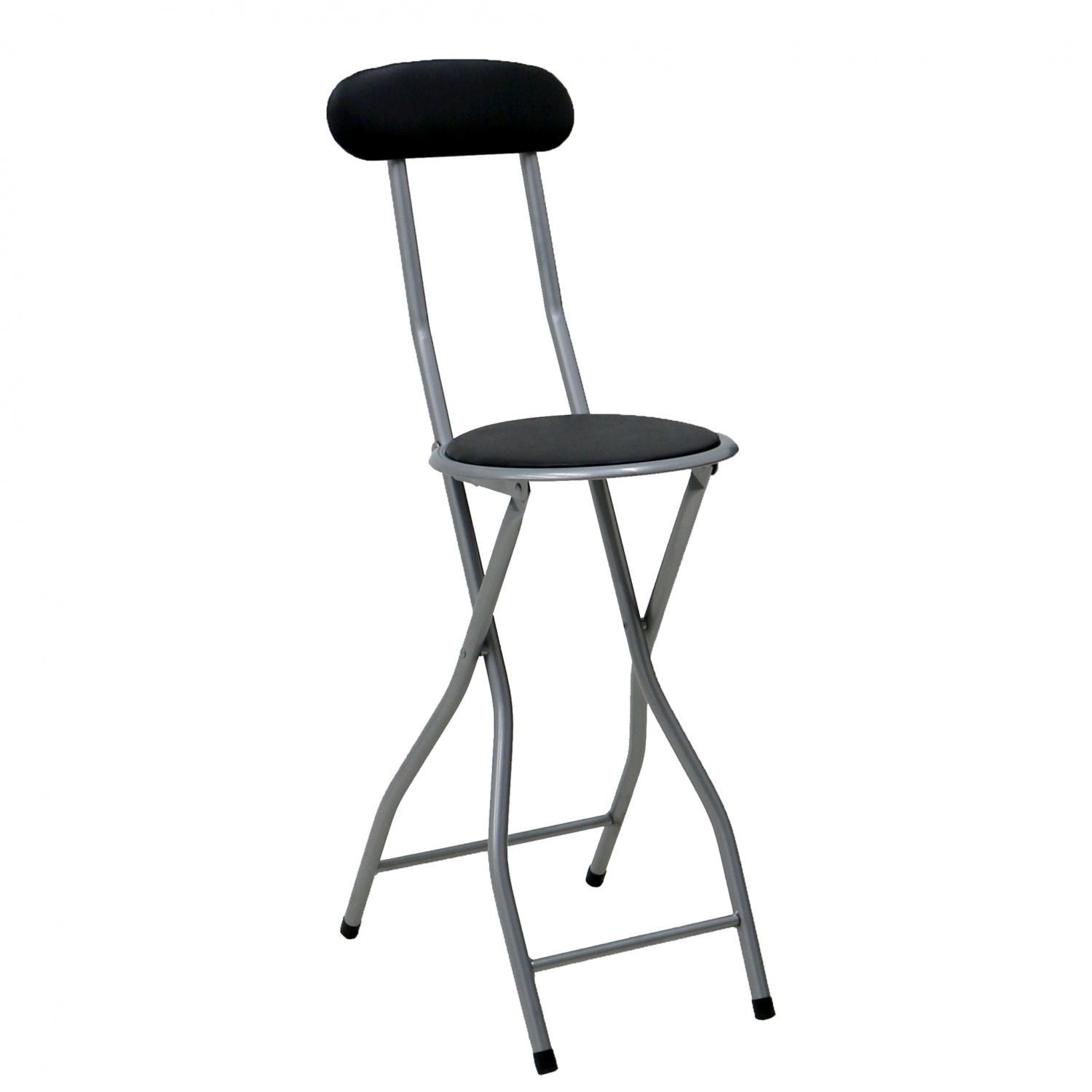 Black Padded Folding High Chair Breakfast Kitchen Bar Stool Seat