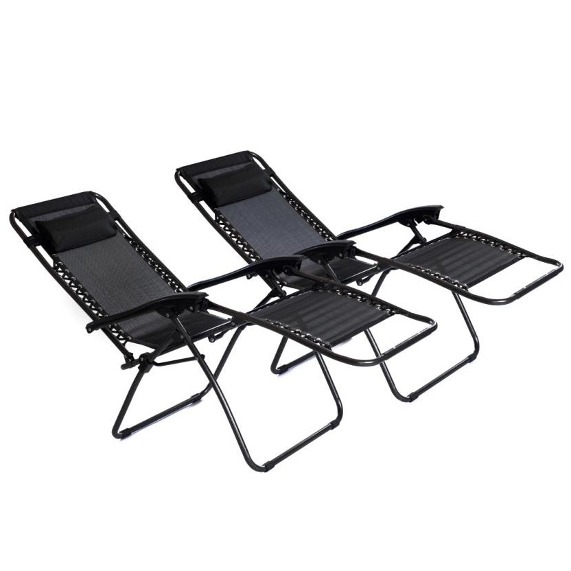 2x Folding Reclining Garden Deck Chair Sun Lounger Zero Gravity. Garden Furniture   Who Needs Shops