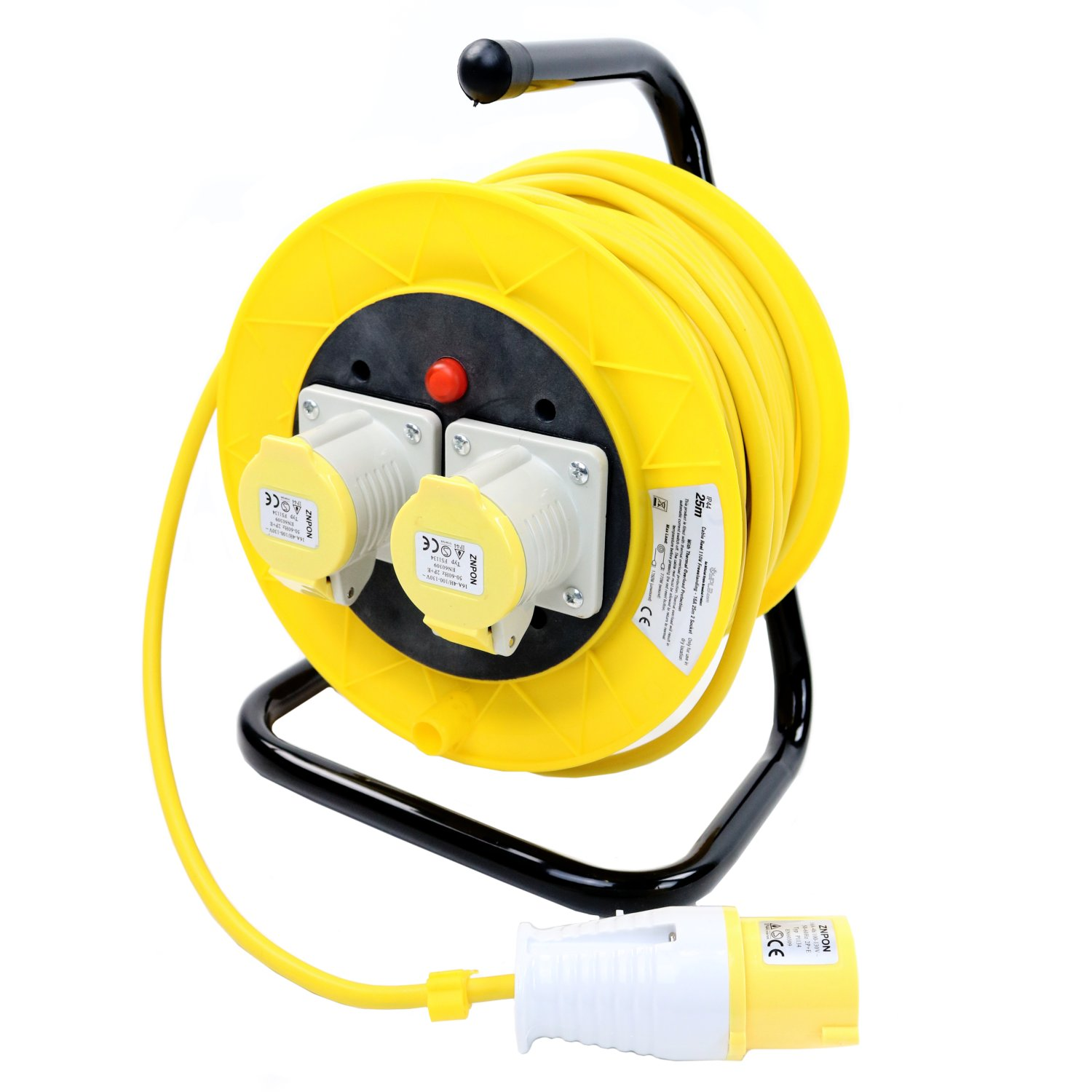 110V 25m 16A 2 Way Gang Socket Extension Cable Reel Electrical