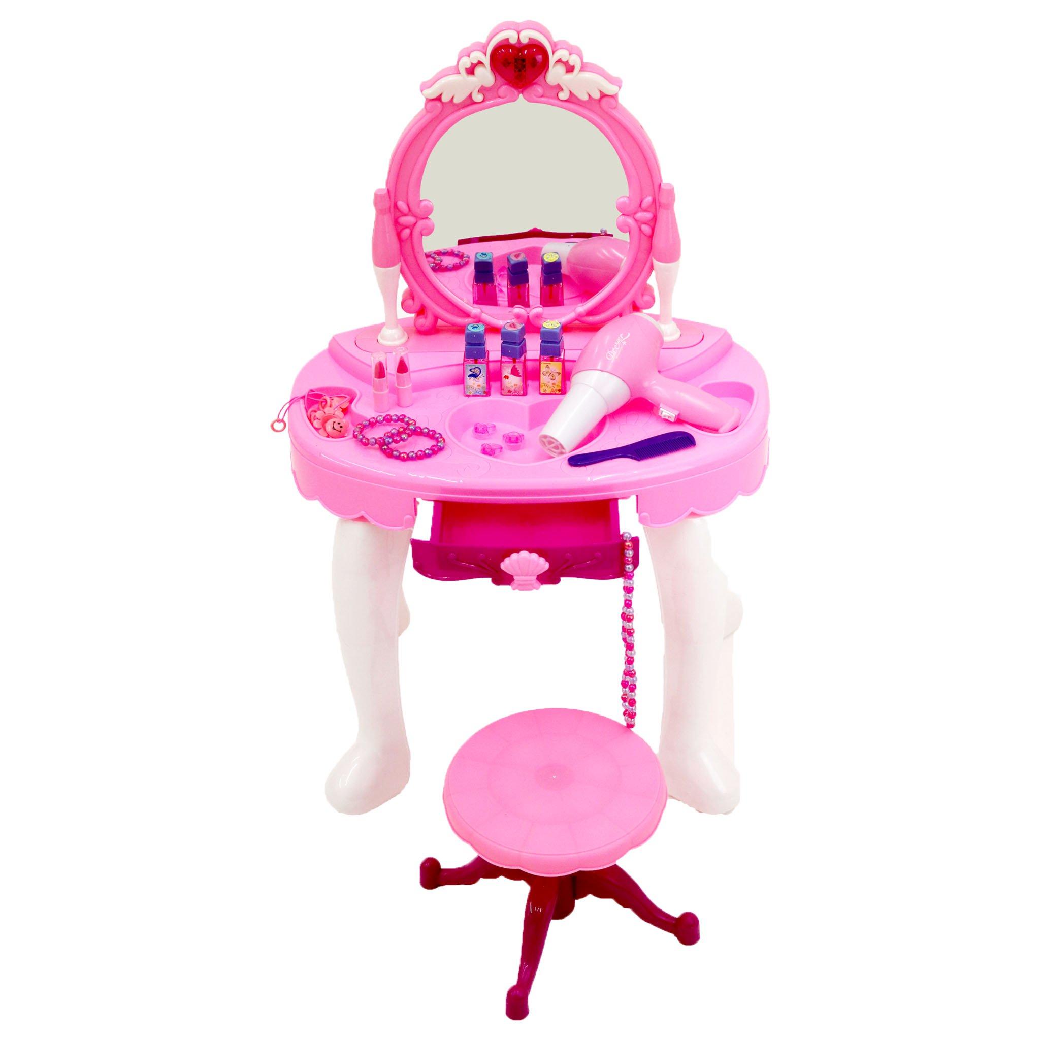 Enfants filles jouent jouet coiffeuse miroir glamour (008