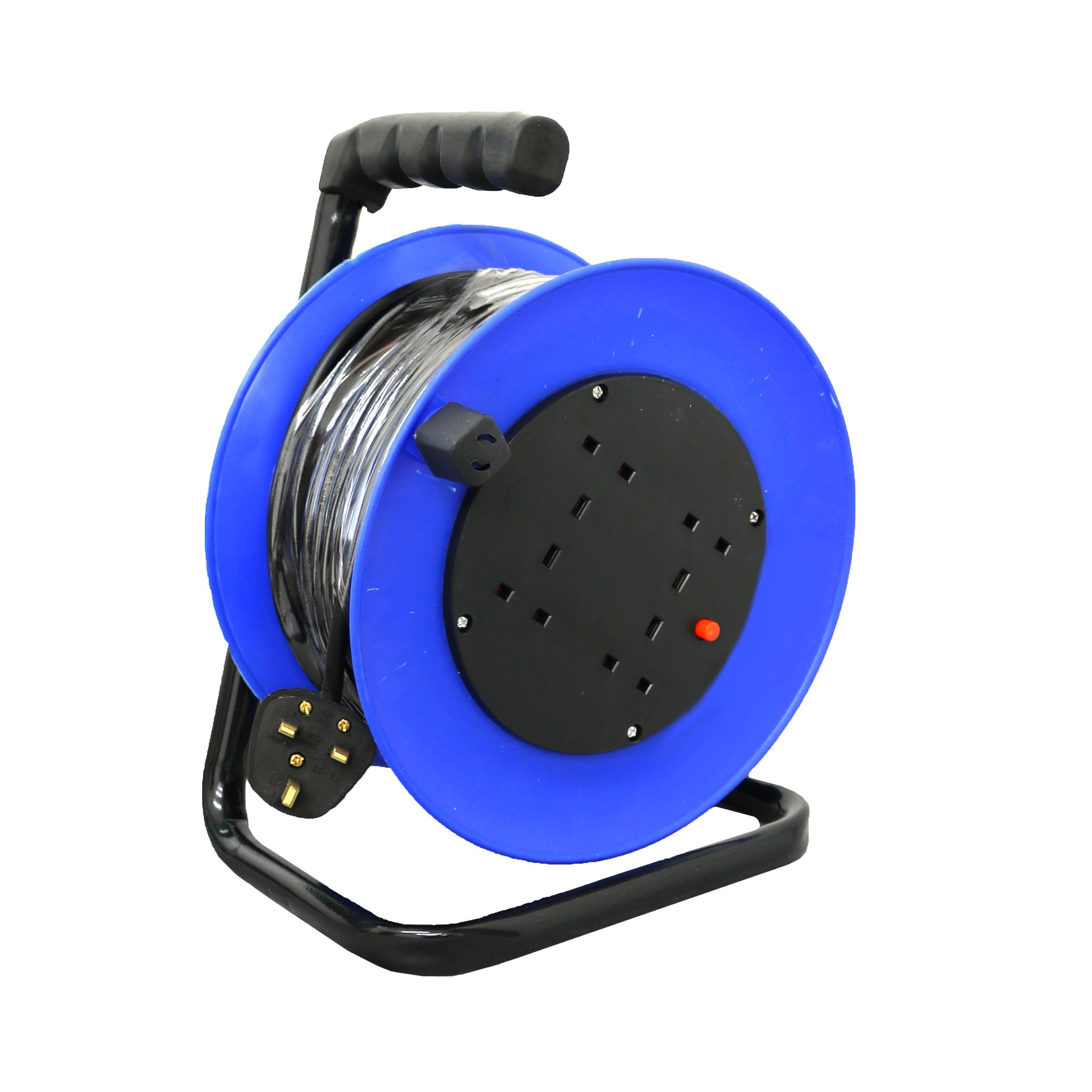 230V 25m 13A 4 Way Gang Socket Extension Cable Reel Electrical