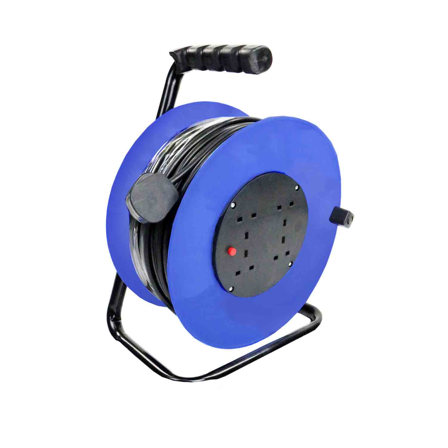230V 50m 13A 4 Way Gang Socket Extension Cable Reel Electrical