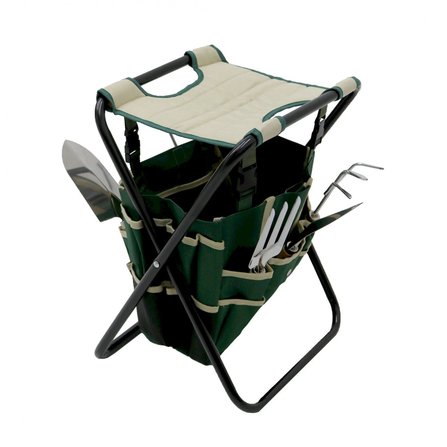Folding Gardeners Stool with 5pc Tools and Storage Bag Gardening