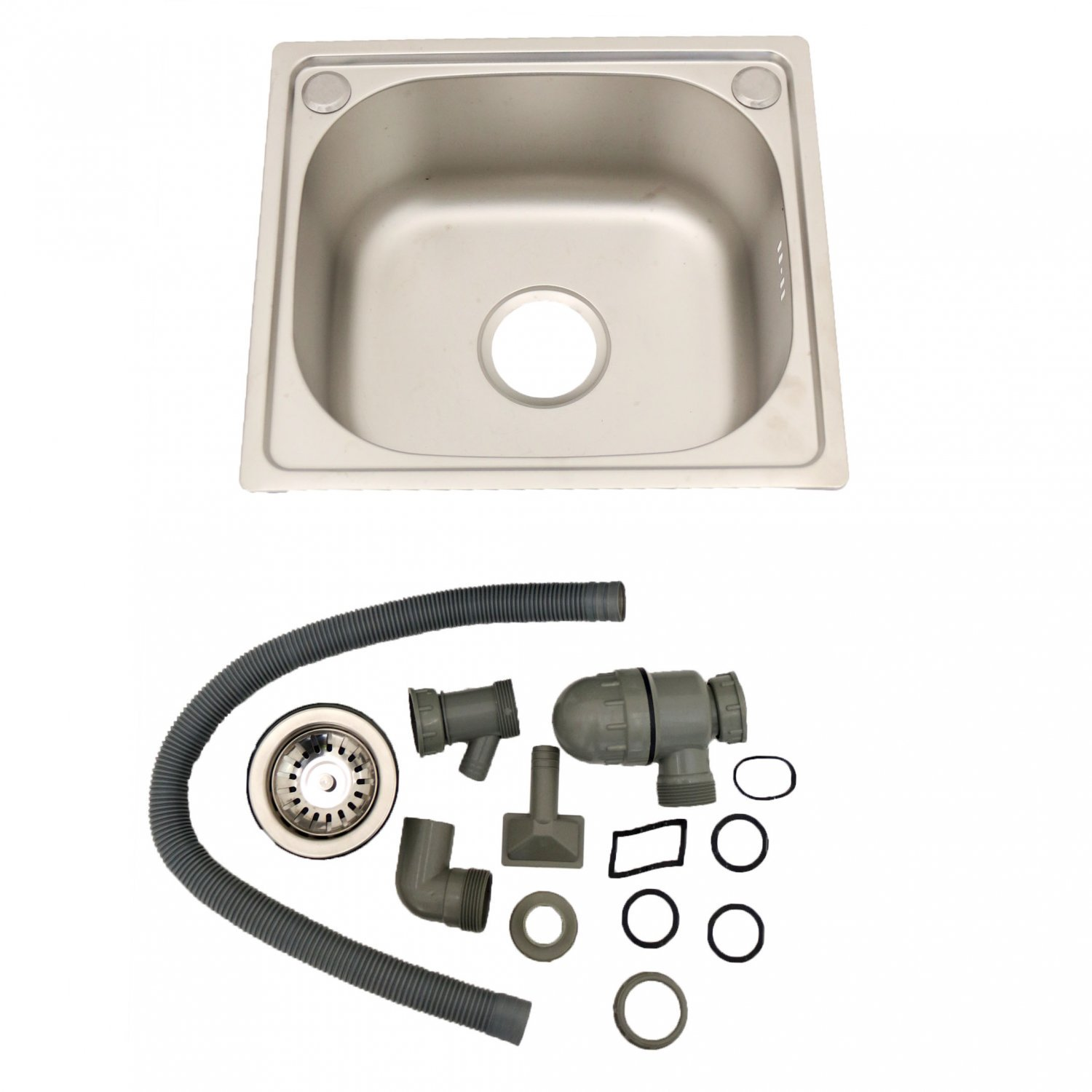 Brushed Stainless Steel Top Mount Kitchen Bowl Sink w/ Plumbing