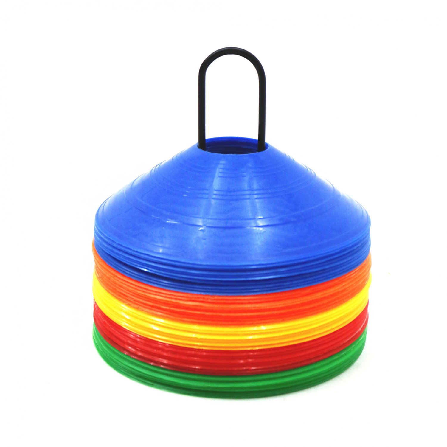 50x Multi Coloured Sports Training Markers Discs Cones w/ Stand