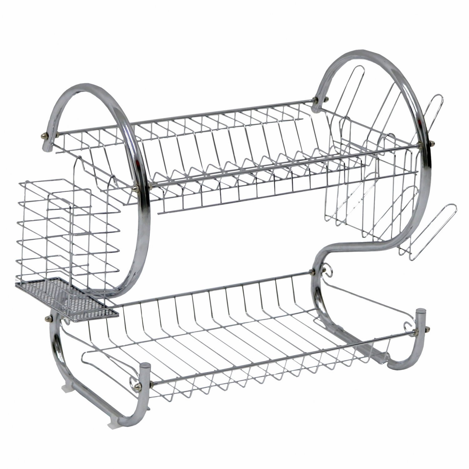 2 Tier Chrome Dish Drainer Plate Cutlery Rack Holder w/Drip Tray