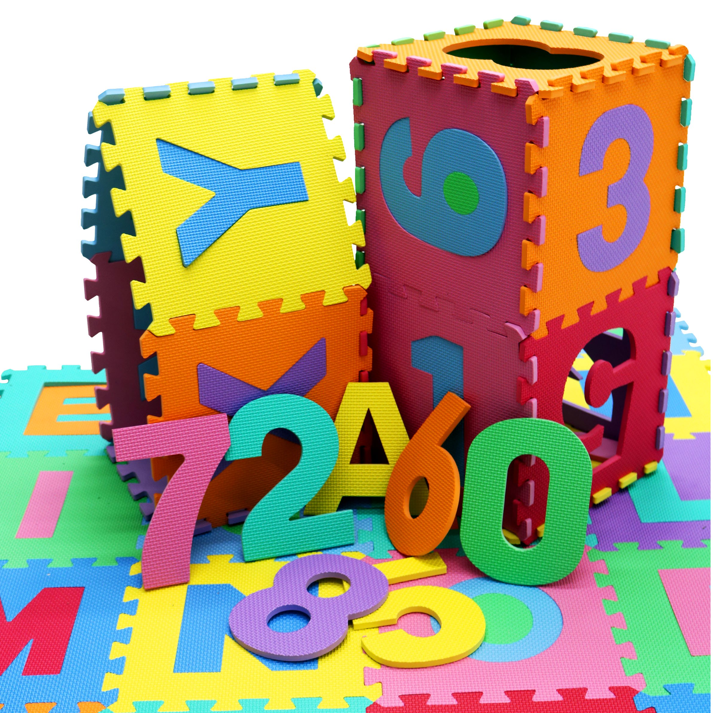 36pc Interlocking EVA Kids Floor Play Mat Alphabet and Numbers