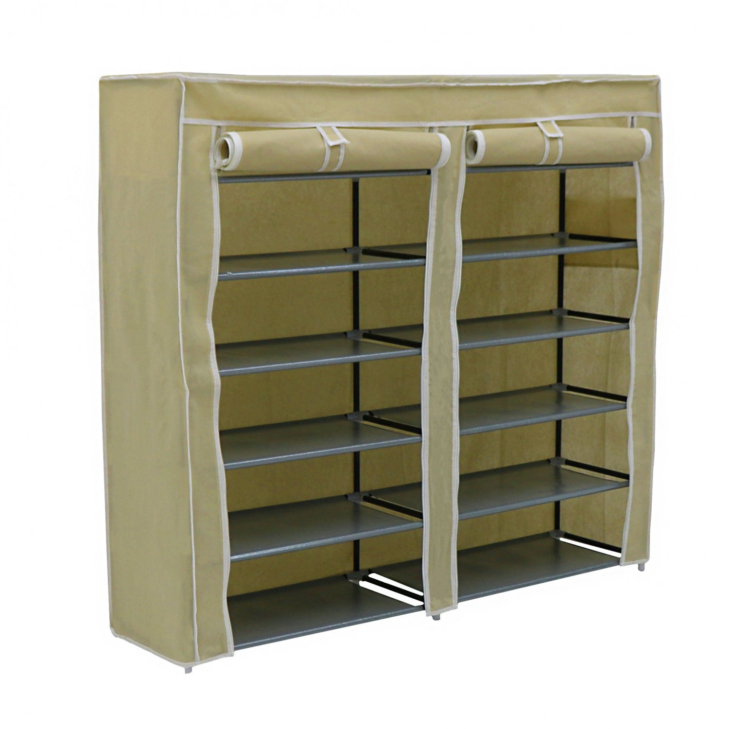 6 Tier 36 Pair Double Cream Canvas Shoe Rack Cabinet Storage