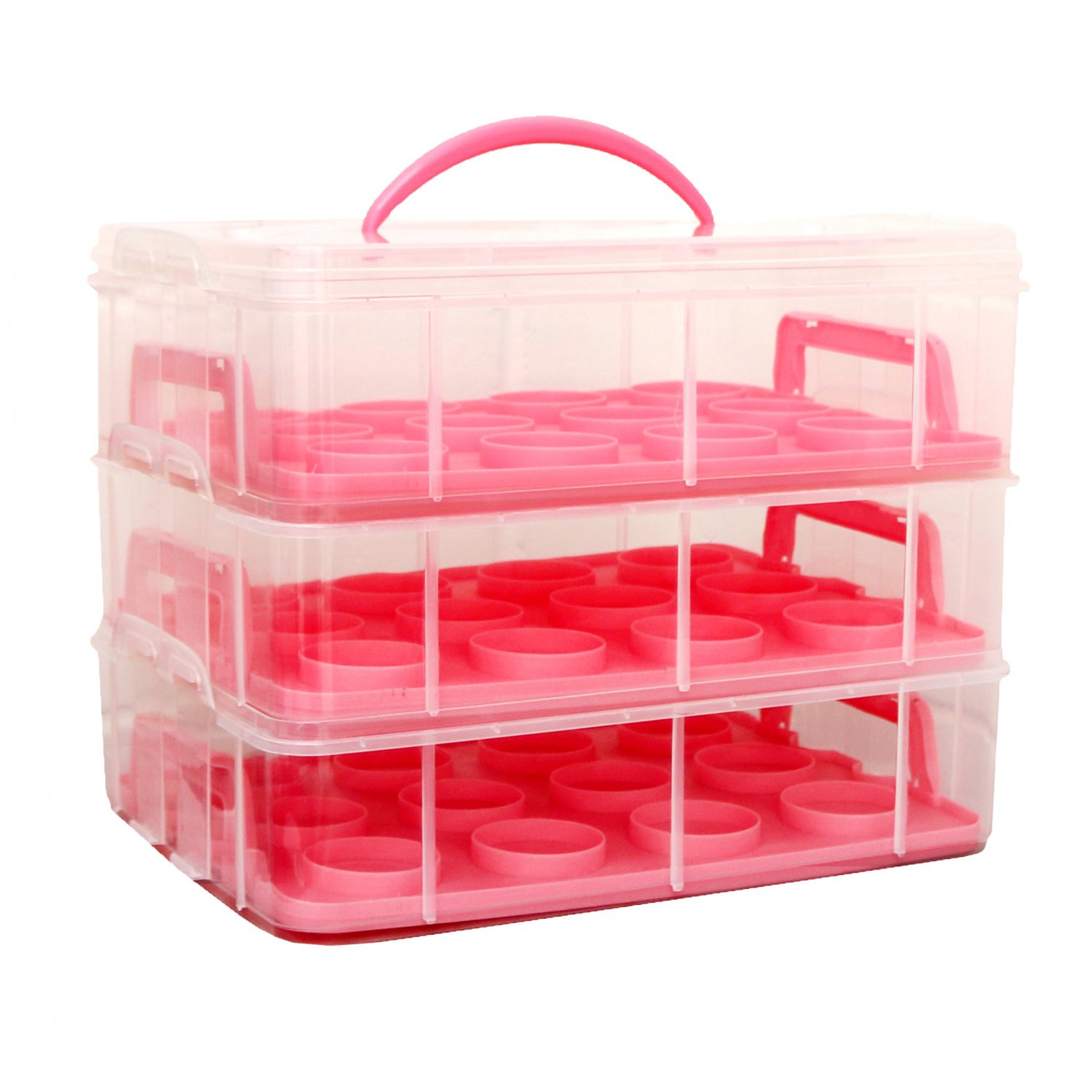 Pink 3 Tier 36 Cupcake Plastic Carrier Holder Storage Container