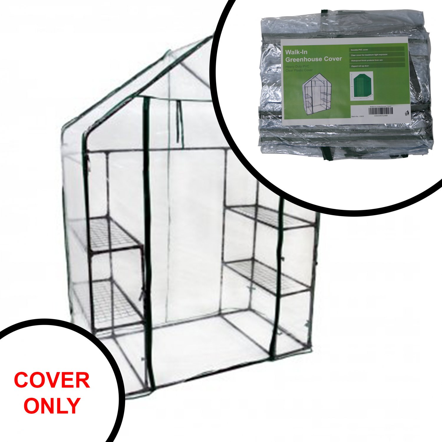 Replacement Spare PVC Cover for 3-Tier Walk-in Garden Greenhouse
