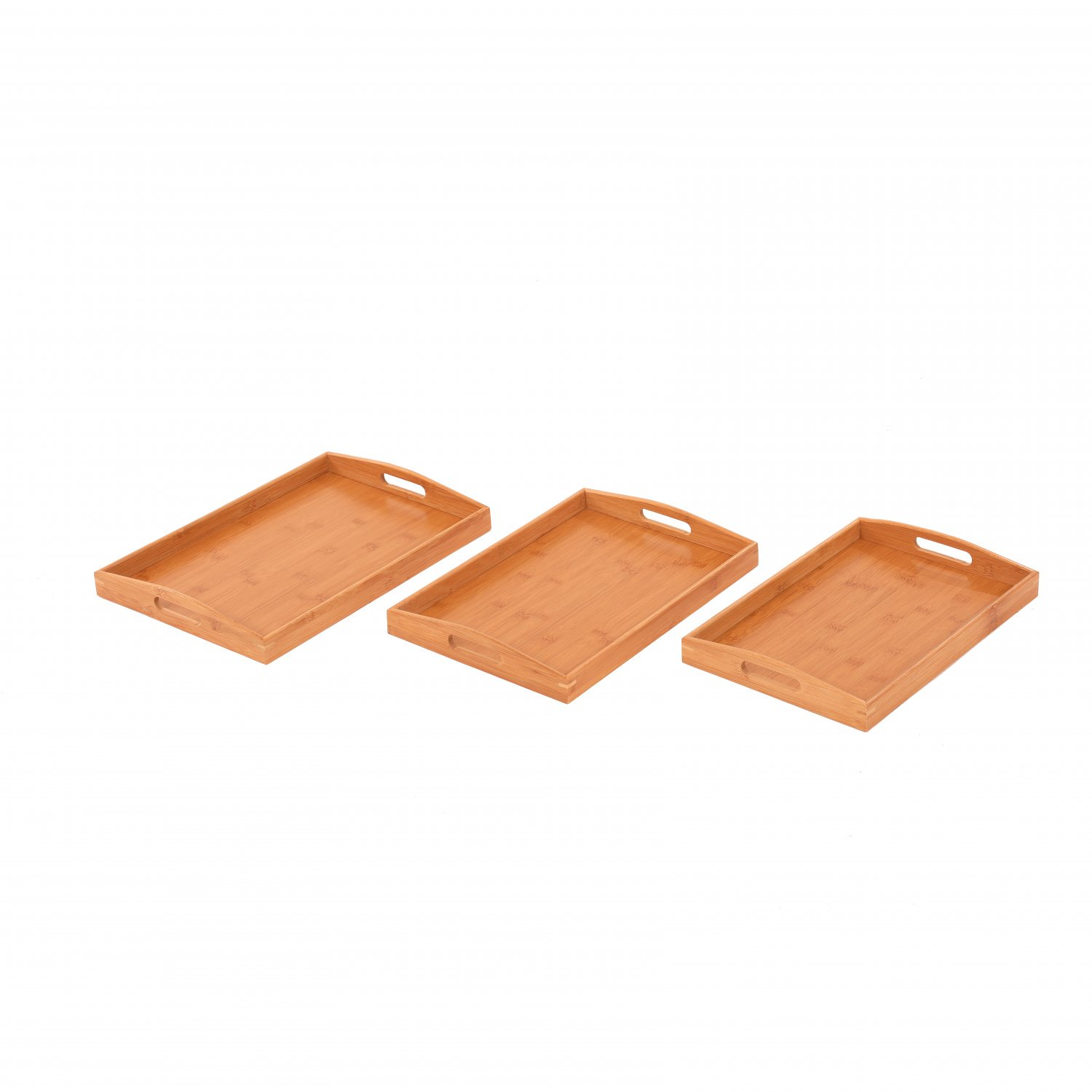 Set of 3 Wooden Bamboo Breakfast Serving Trays Platters
