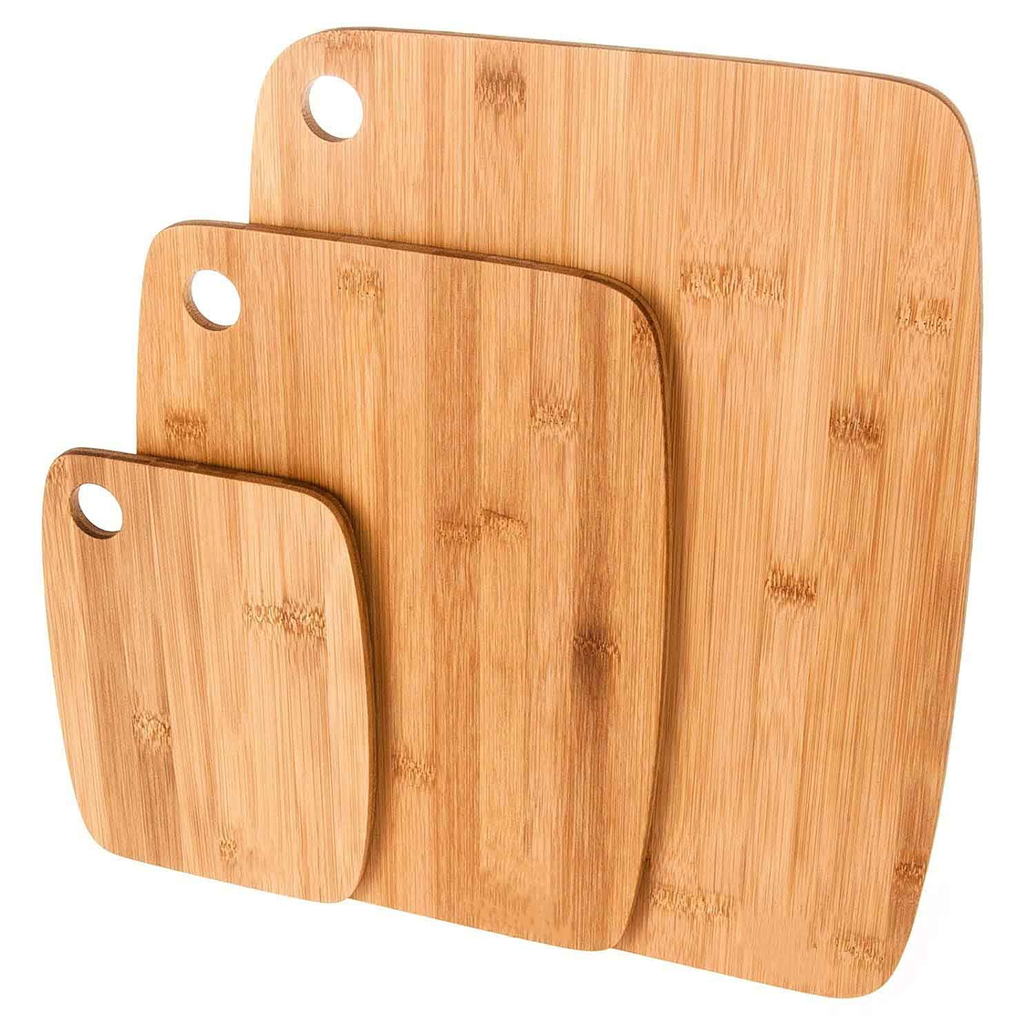 3 Piece Bamboo Wooden Chopping Cutting Board Kitchen Set