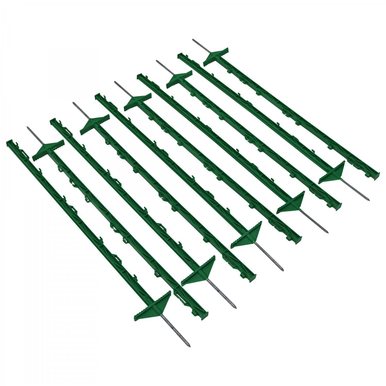 1m Green Plastic Electric Fencing Pins Posts Stakes Pack of 10