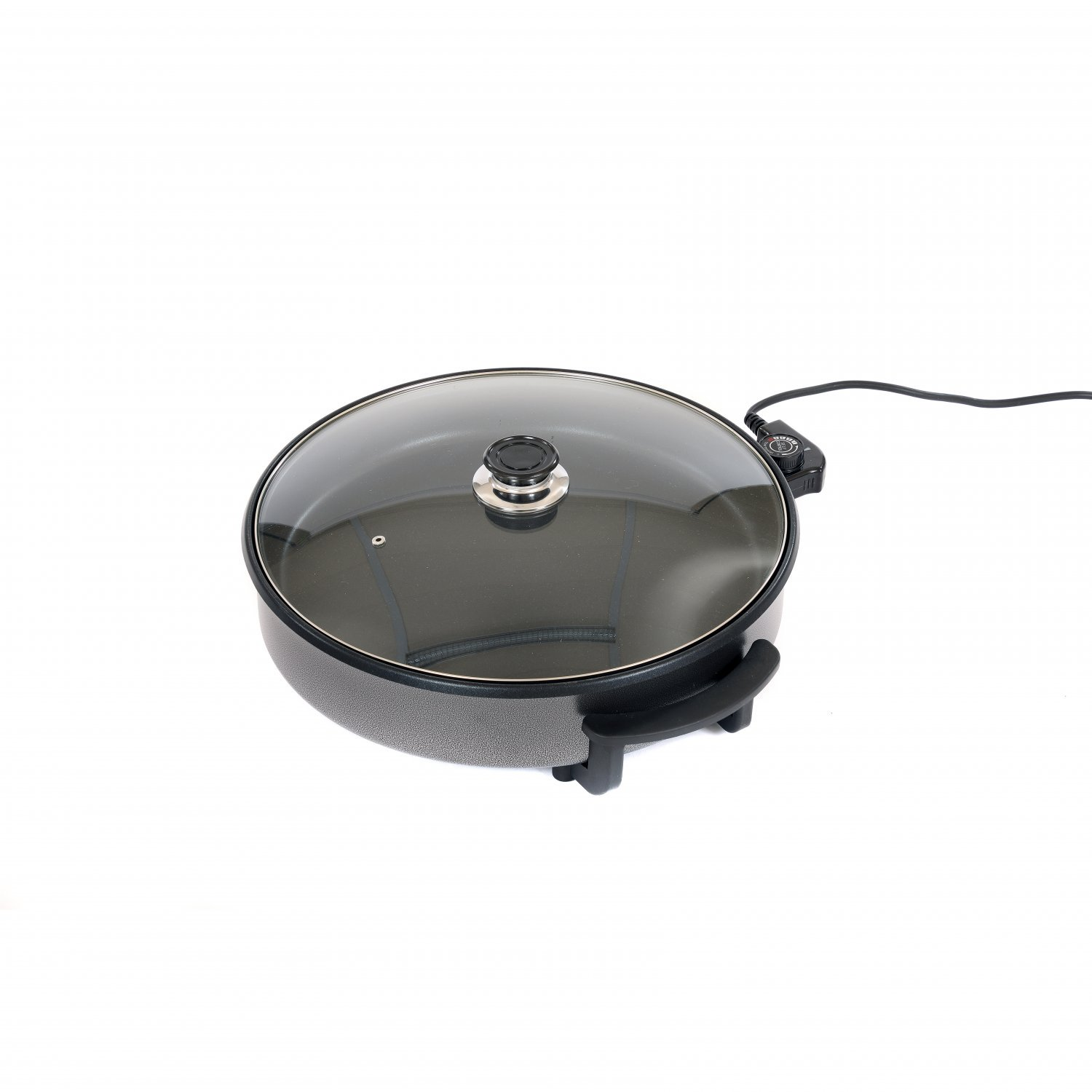 1500W Large Multi Function Electric Cooker Frying Pan Glass Lid