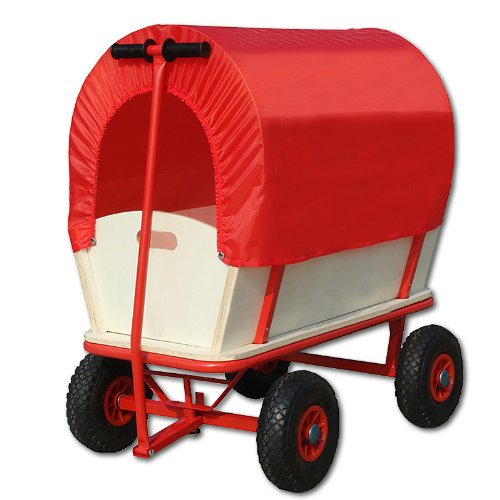 Childrens Kids Pull Along Toy Wagon Cart Trolley with Canopy