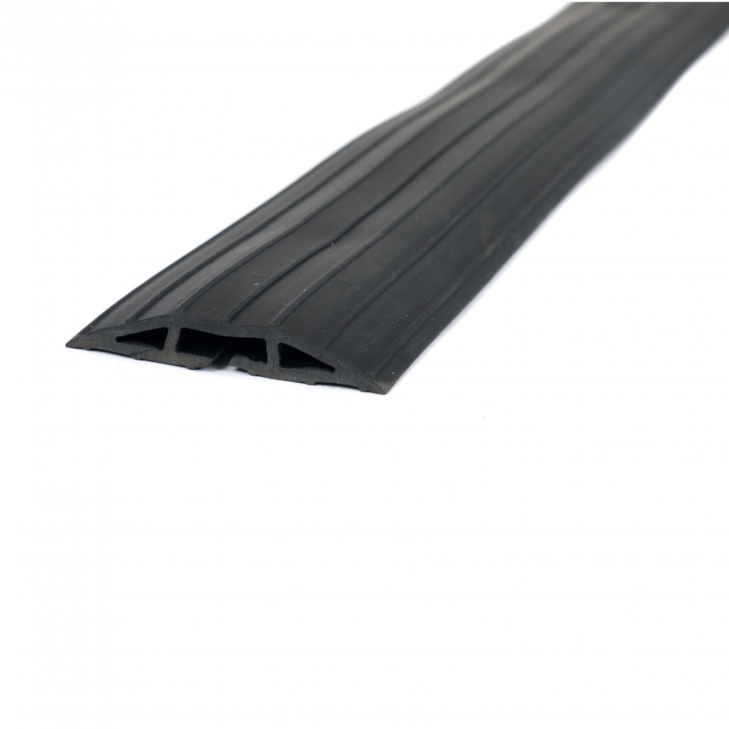 2m Black Rubber Floor Cable Protector Safety Trunking Ramp