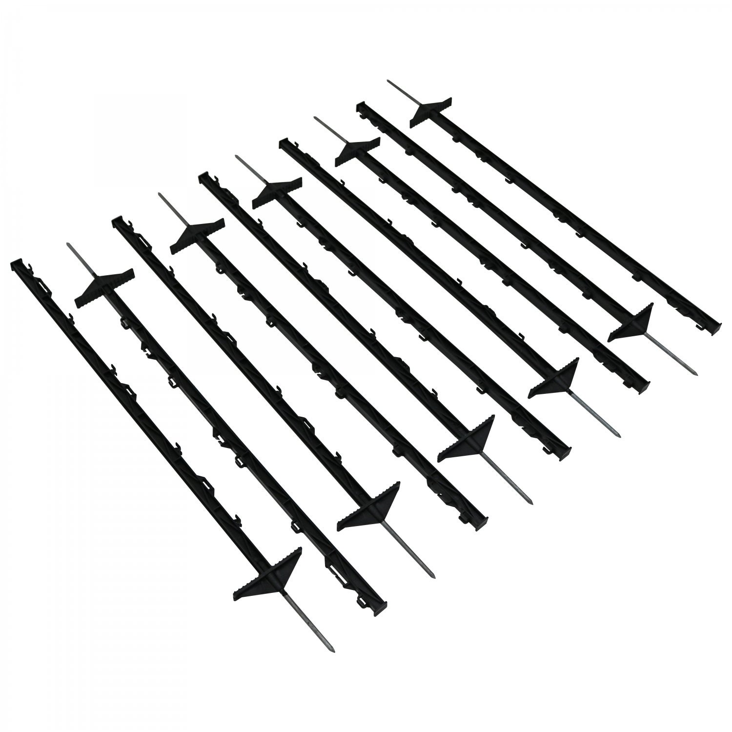 1m Black Plastic Electric Fencing Pins Posts Stakes Pack of 10