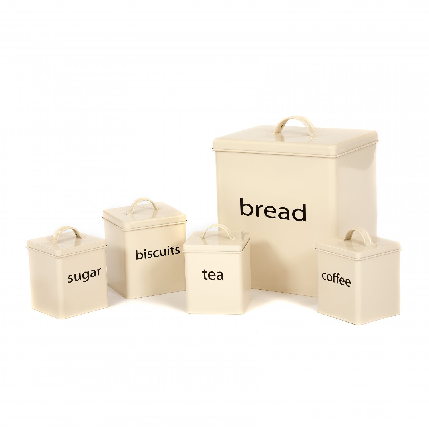 5pc Cream Kitchen Canister Set Bread Biscuits Tea Sugar Coffee