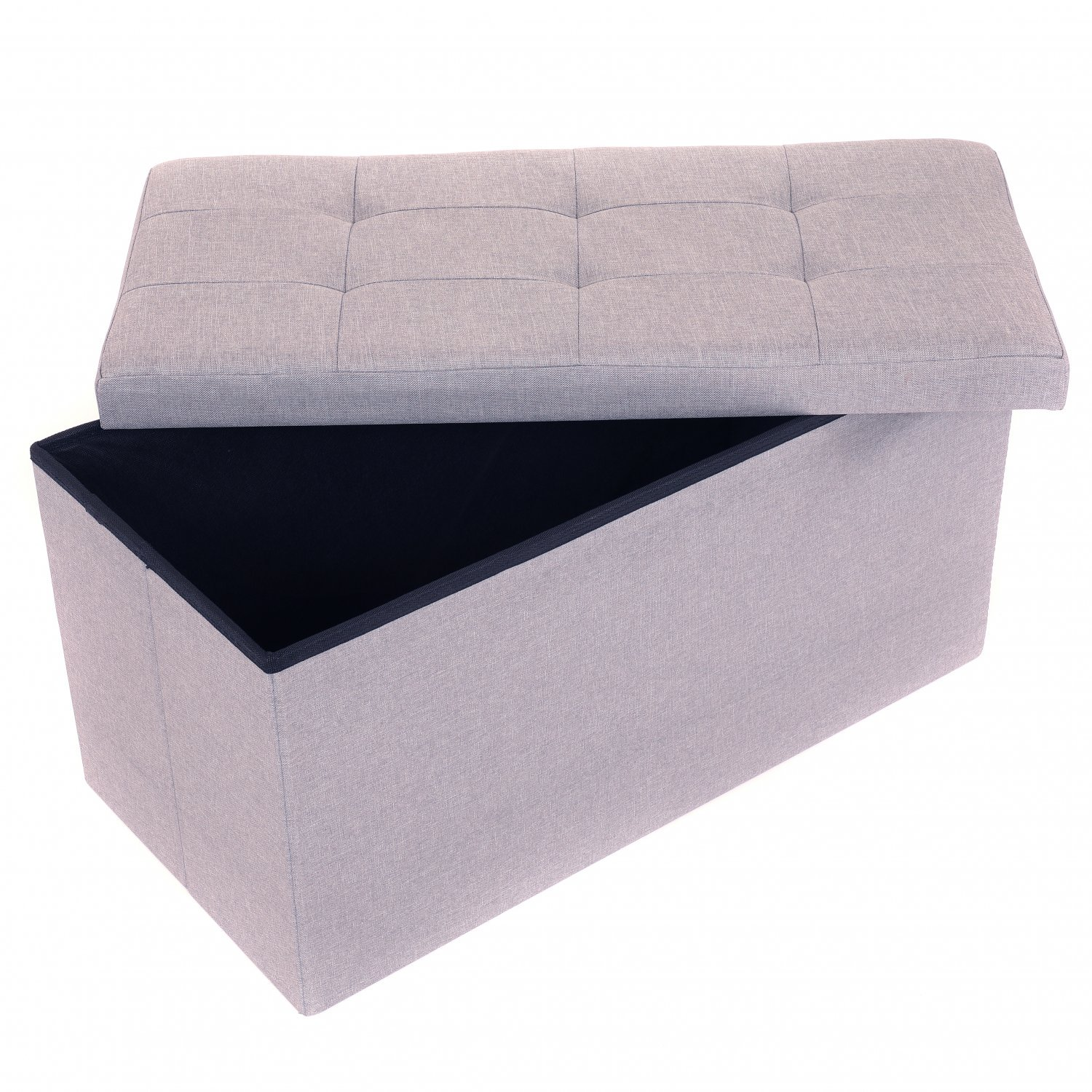 Medium Grey Linen Folding Ottoman Storage Chest Box Seat Bench - Click Image to Close