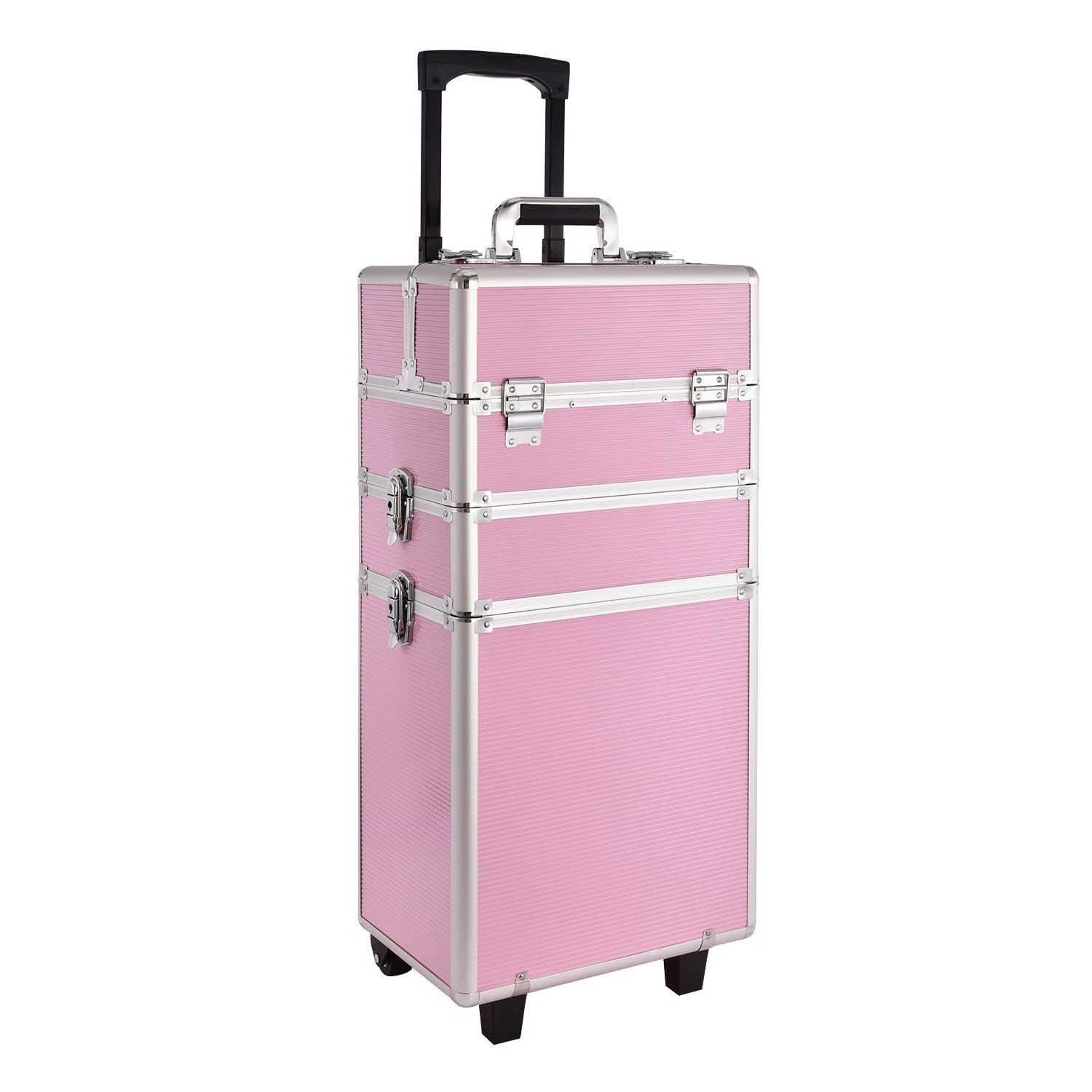 Pink Aluminium Cosmetic Makeup Vanity Beauty Glamour Trolley