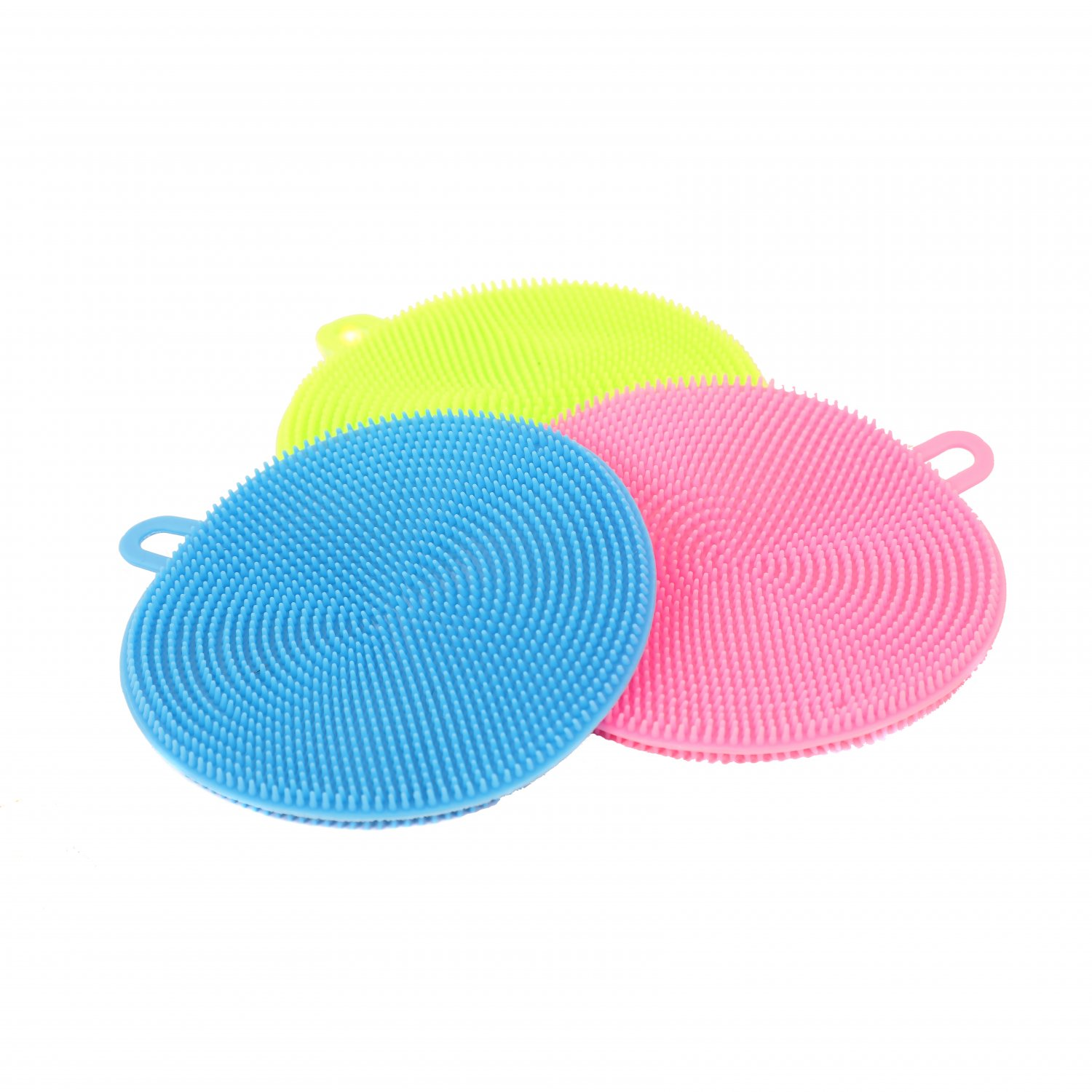 Set of 3 Silicone Scrubber Brush Dish Wash Cleaning Sponge Pads
