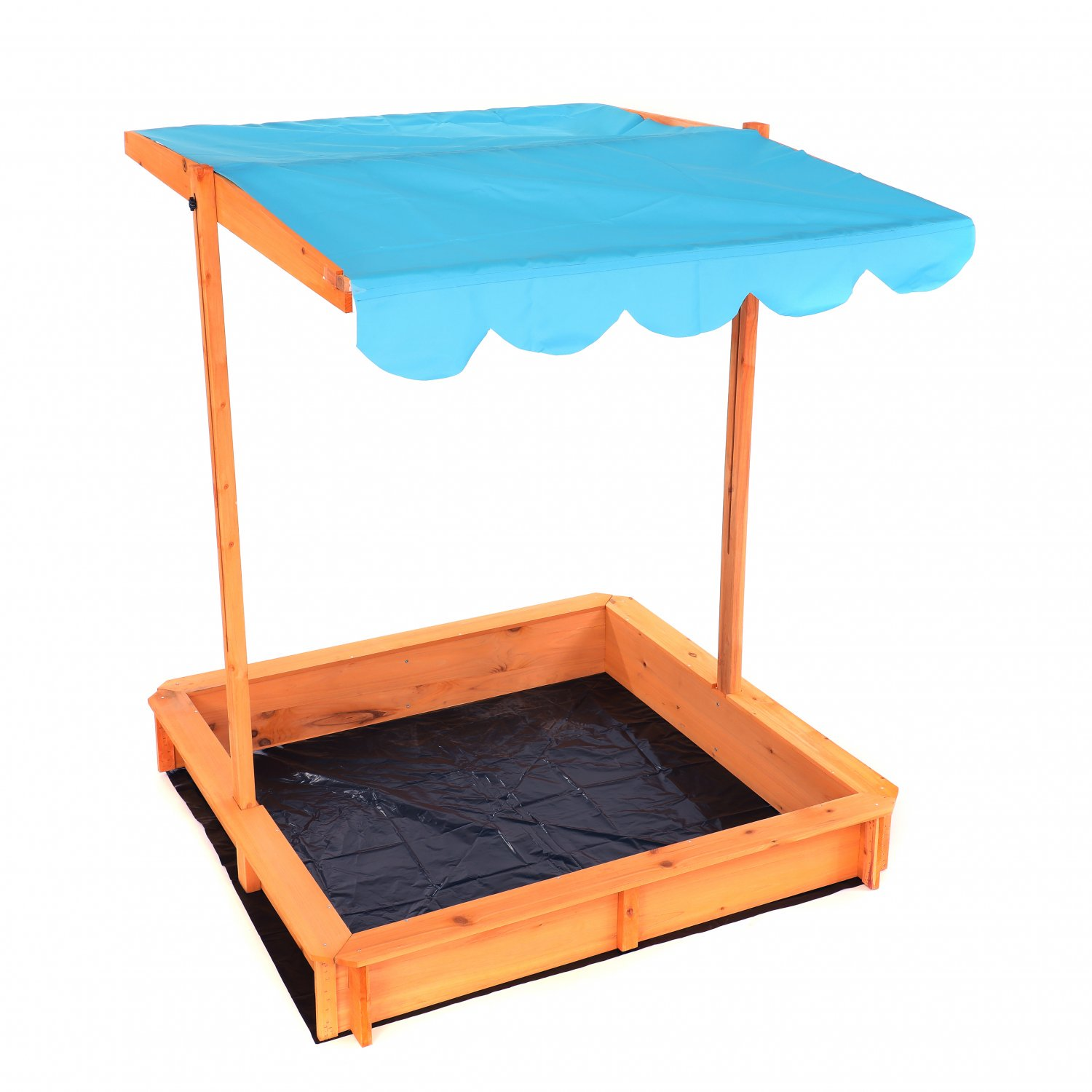 Childrens Wooden Garden Sand Pit with Adjustable Canopy