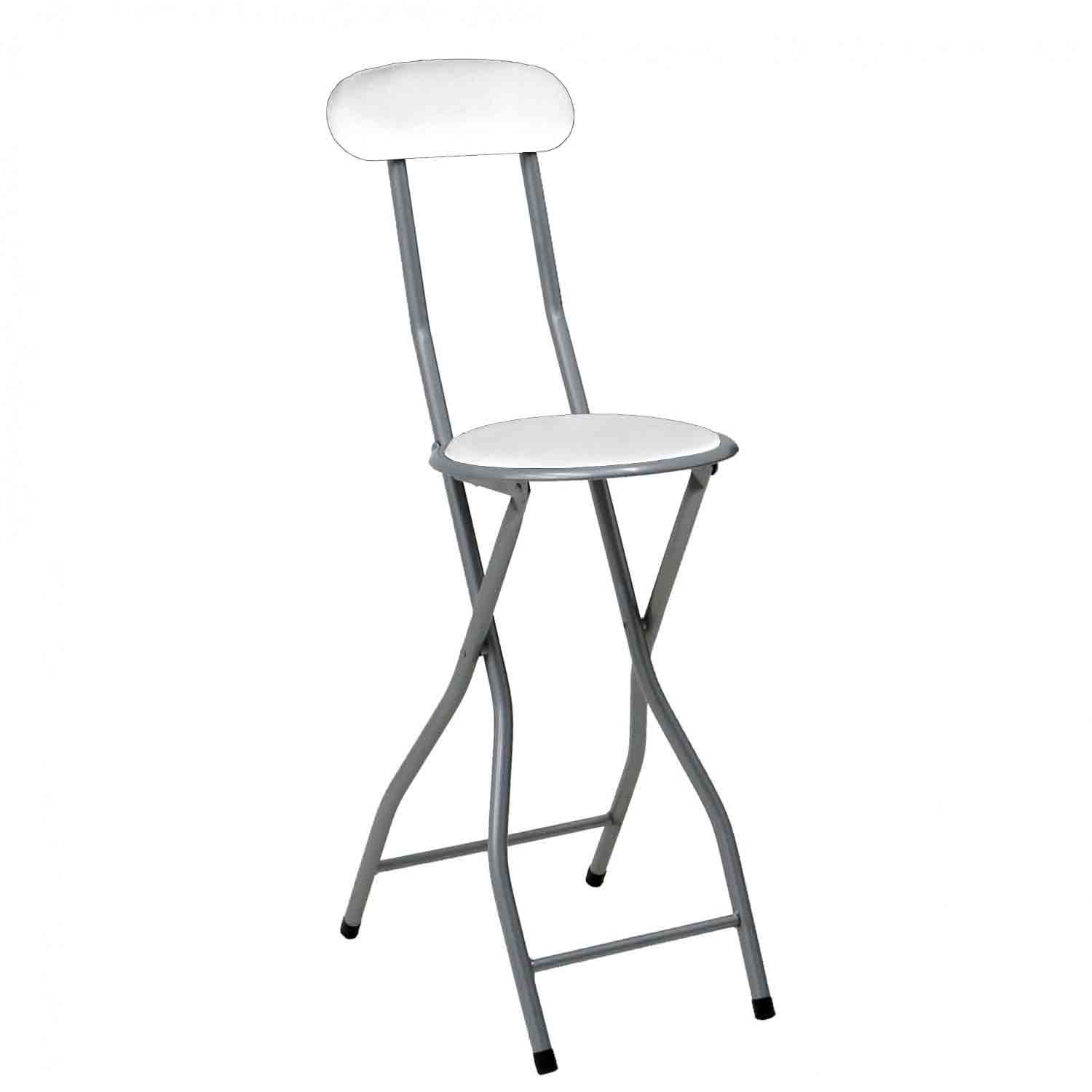 White Padded Folding High Chair Breakfast Kitchen Bar Stool Seat