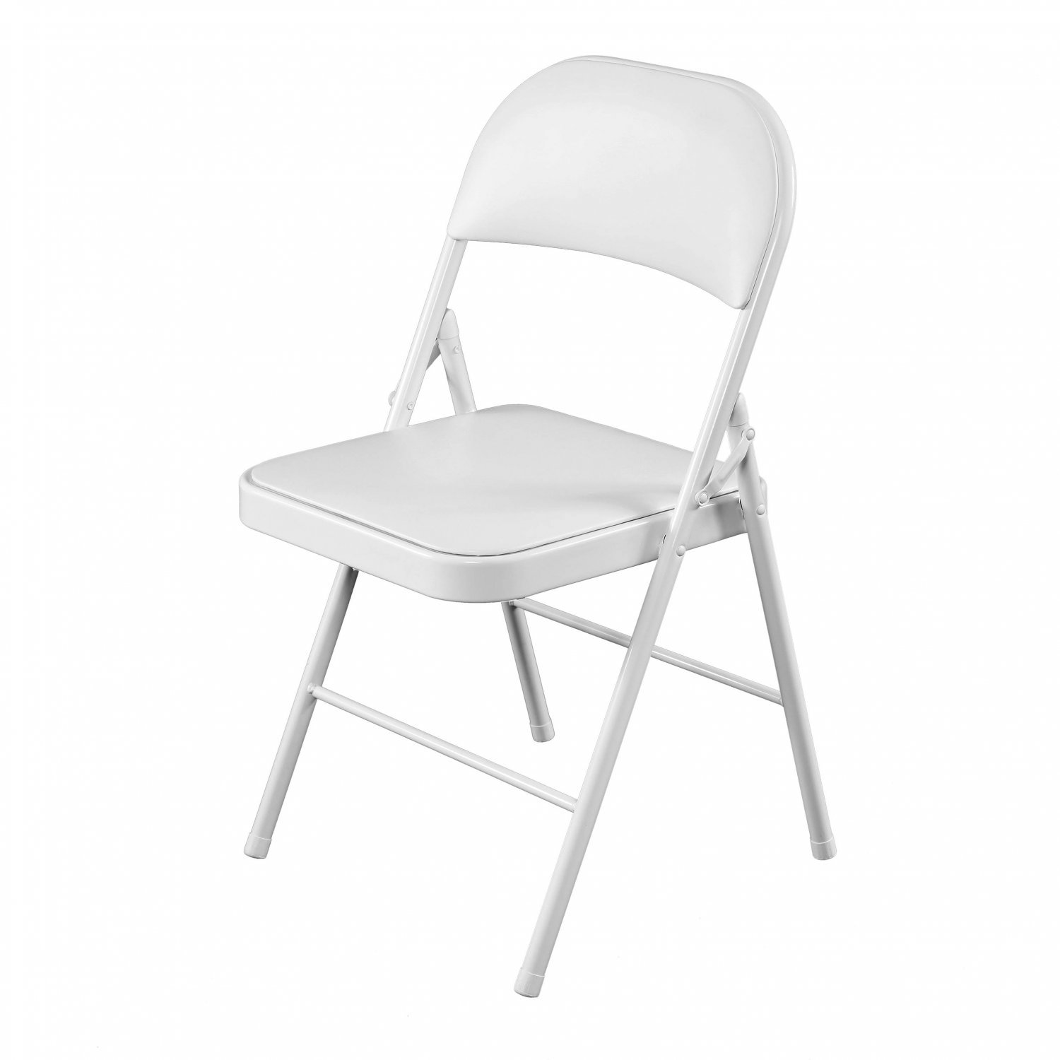 Heavy Duty White Padded Folding Metal Desk Office Chair Seat