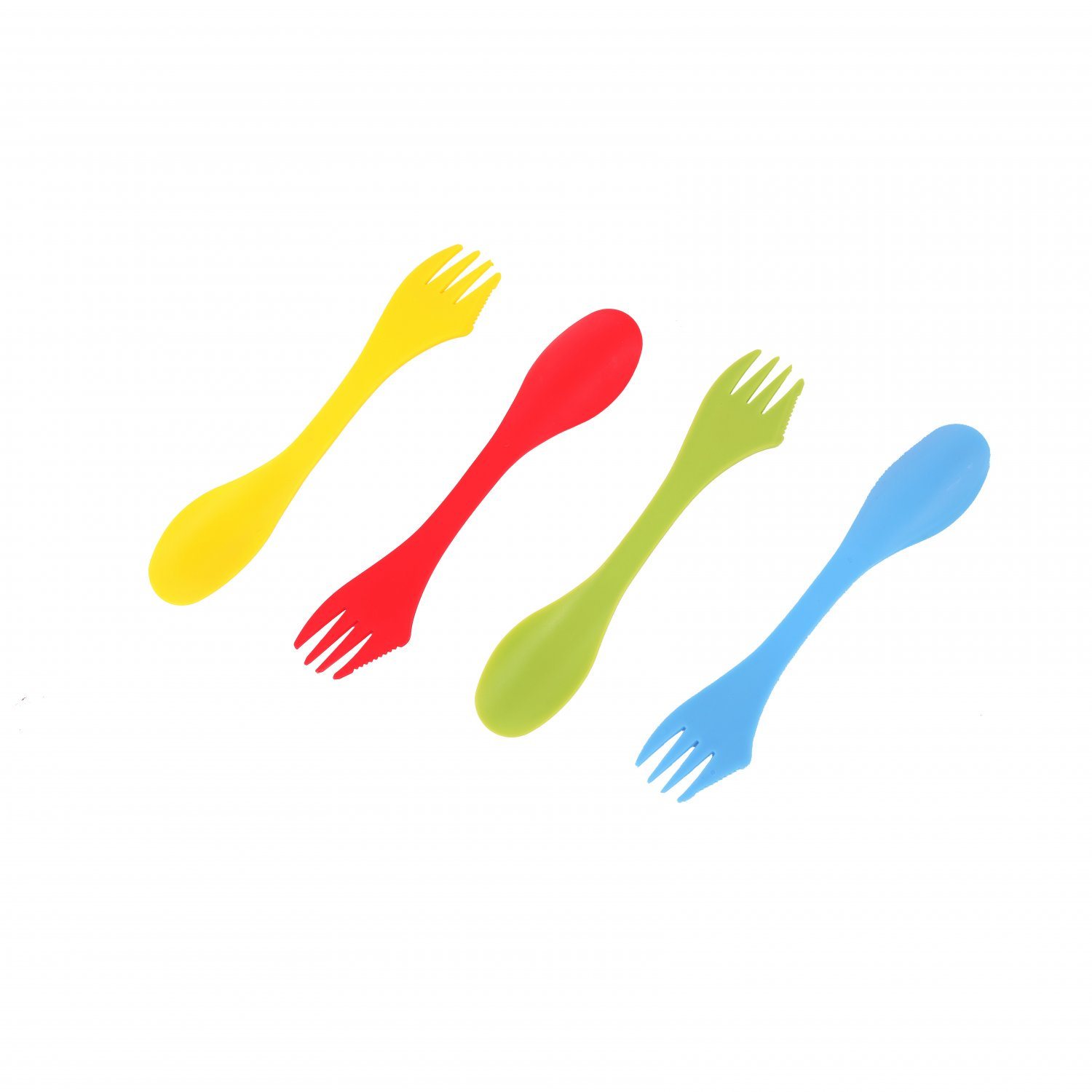 Set of 4 Multicoloured Sporks Camping Cutlery Set Reusable