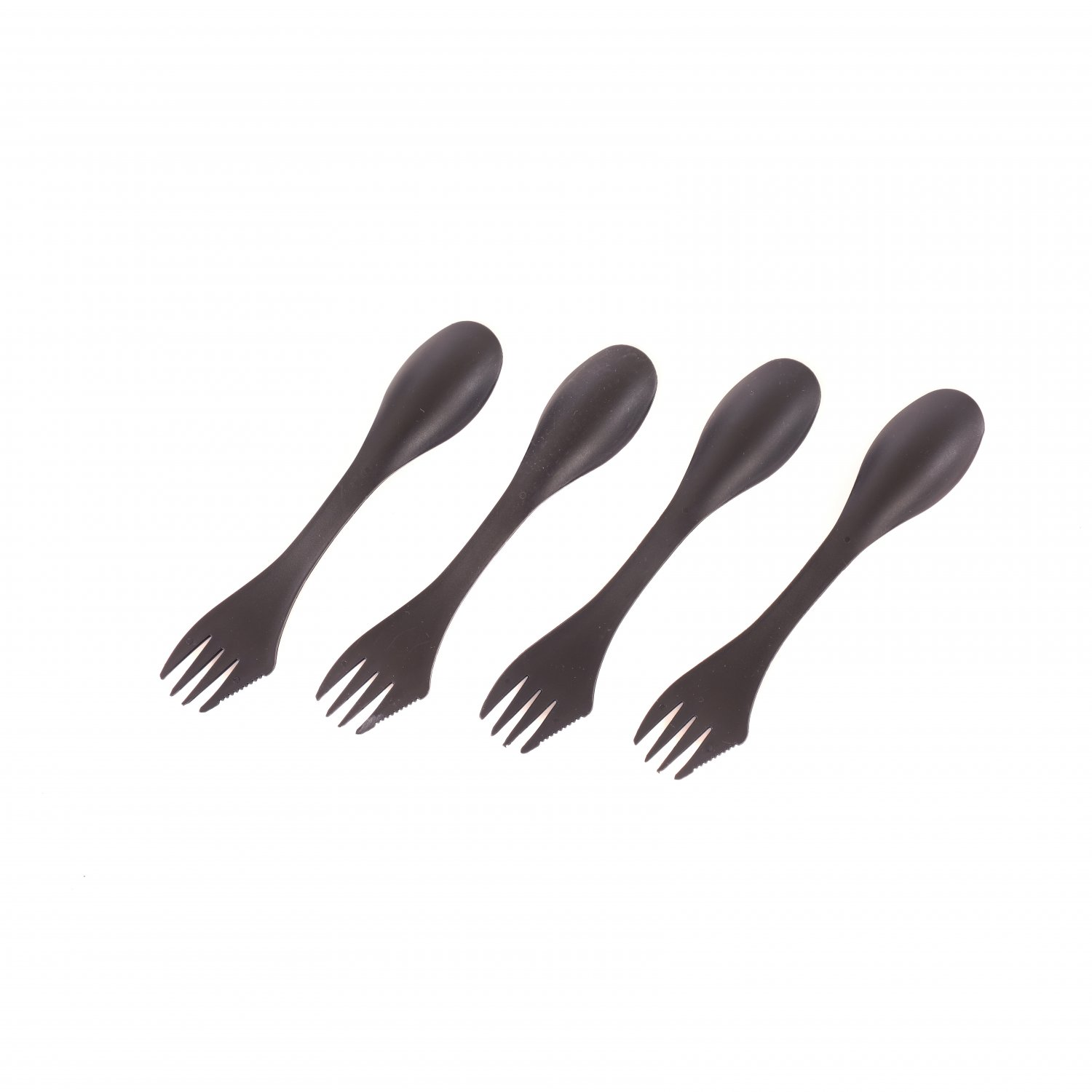 Set of 4 Black Sporks Camping Cutlery Set Reusable