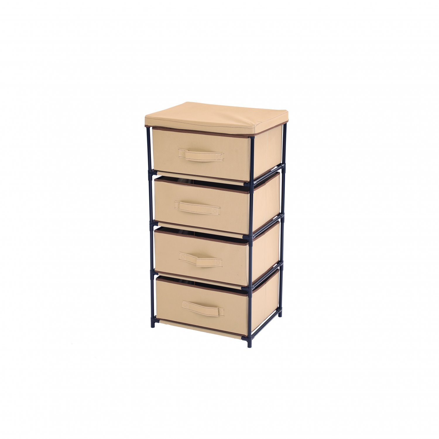 Beige 4 Tier Fabric Storage Unit Organiser Chest of Drawers Bedr