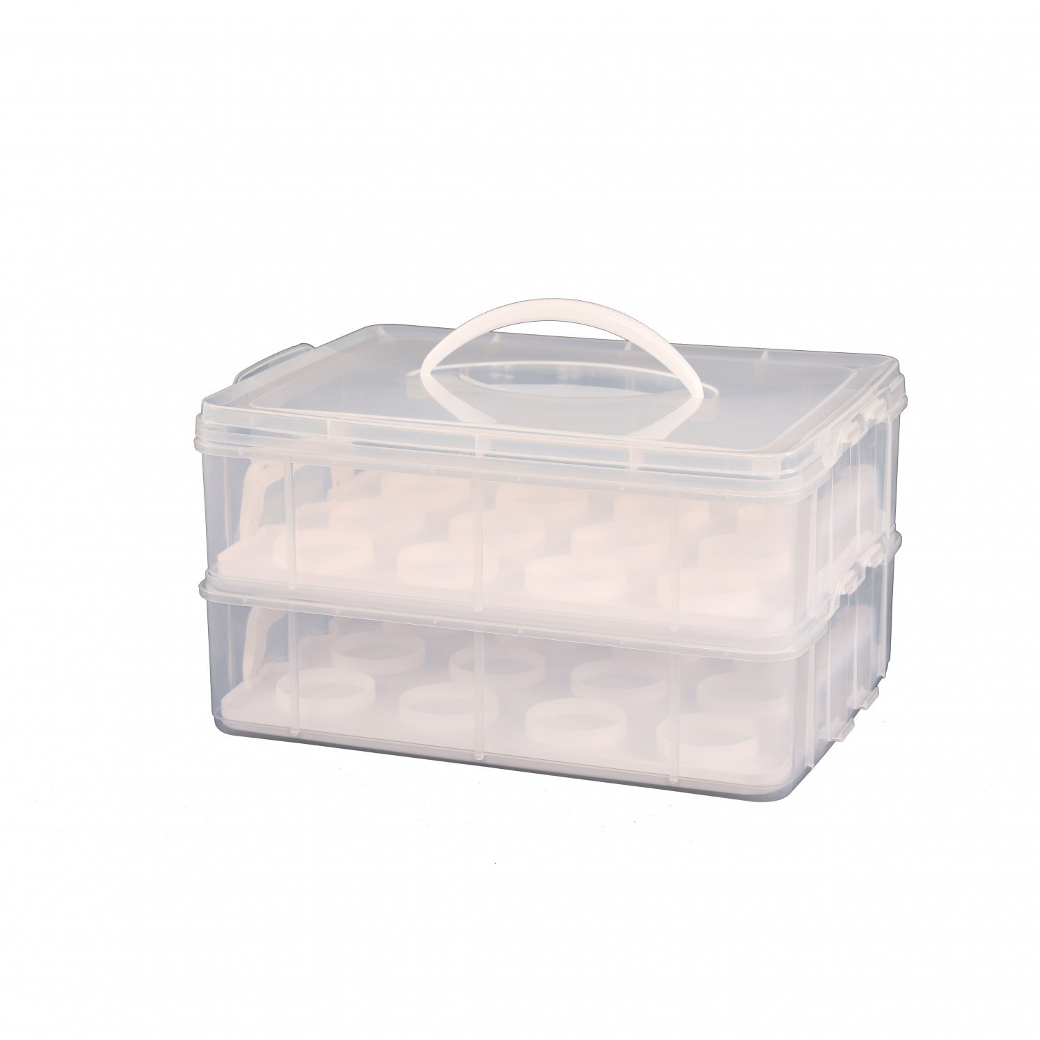2 Tier Cupcake Cake Holder Portable Storage Carrier
