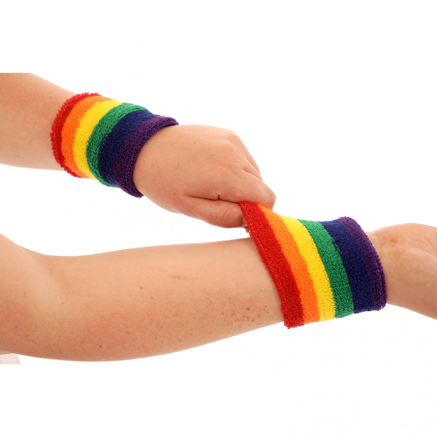 Bright Rainbow Fitness Sport Gym Multicoloured Wrist Sweatband S