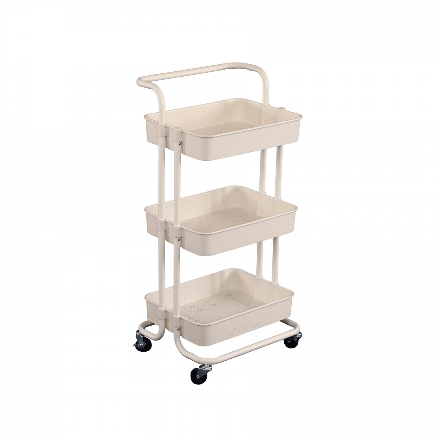 3 Tier White Household Kitchen Bathroom Storage Trolley Cart She