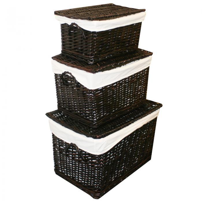 Wicker Lidded Baskets Chocolate Brown 3 Pack - Home - Storage