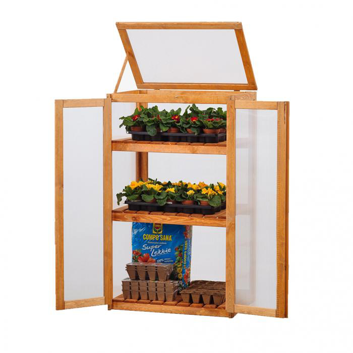 Wooden 2 Shelf Outdoor Cold Frame Cupboard Grow House